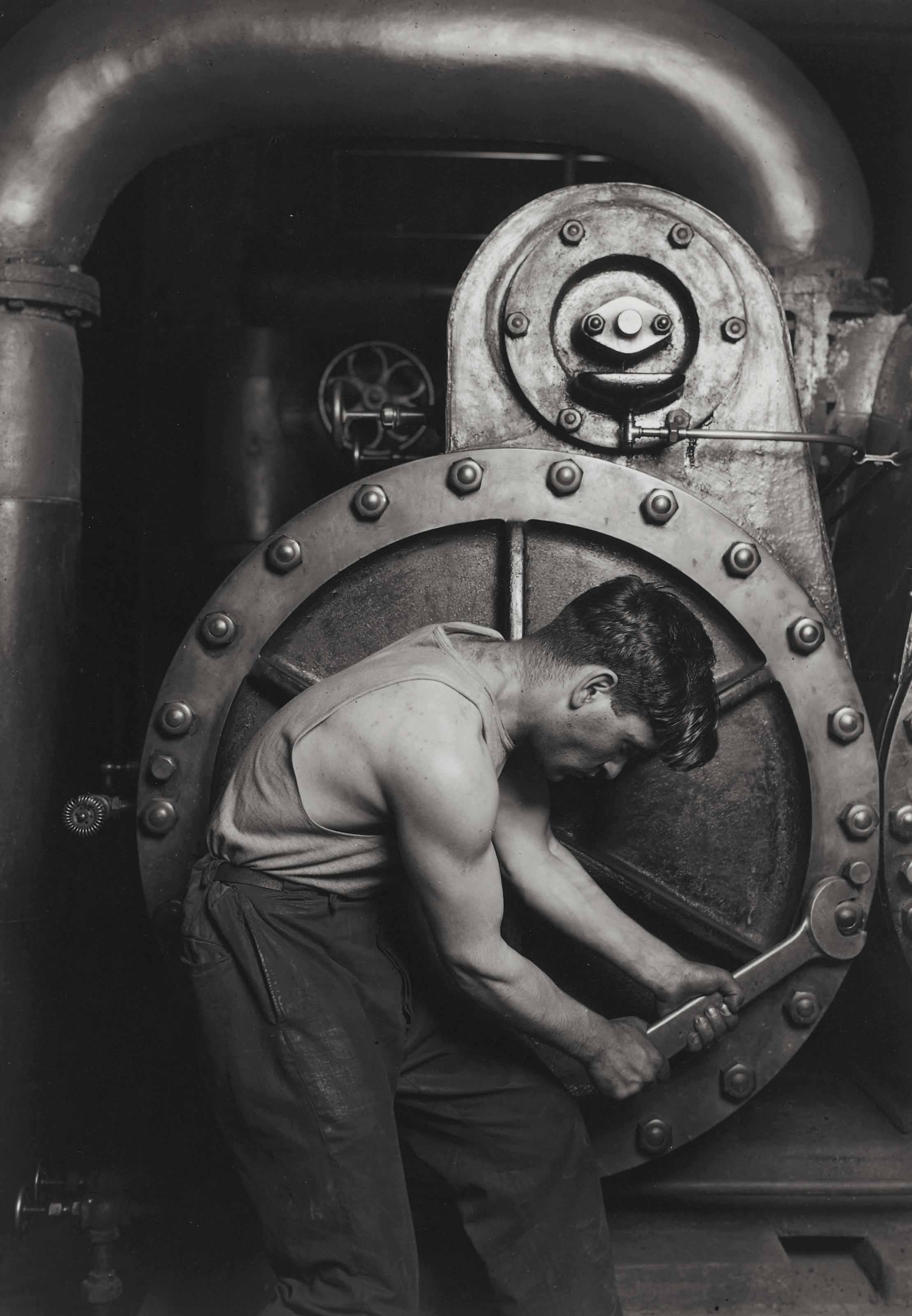 Mechanic at Steam Pump in Electric Power House, 1921