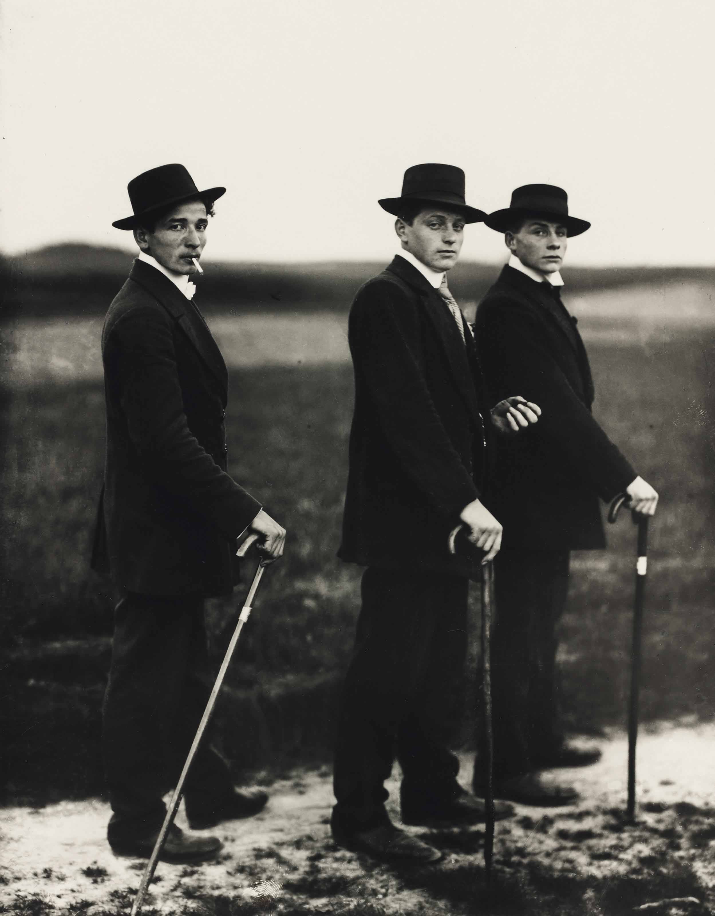 Three young farmers on their way to a dance, Westerland, 1914