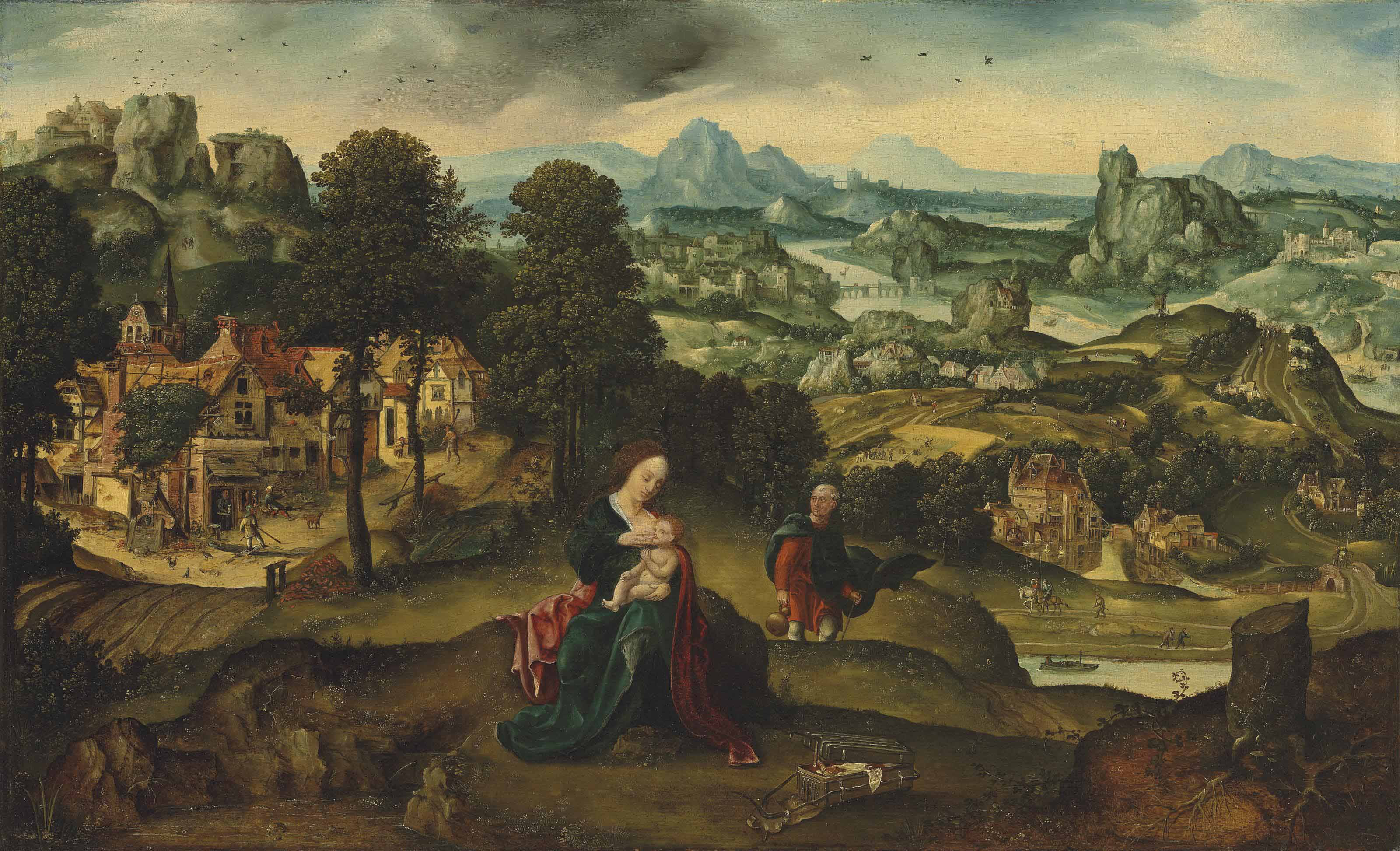An extensive landscape with the Rest on the Flight into Egypt