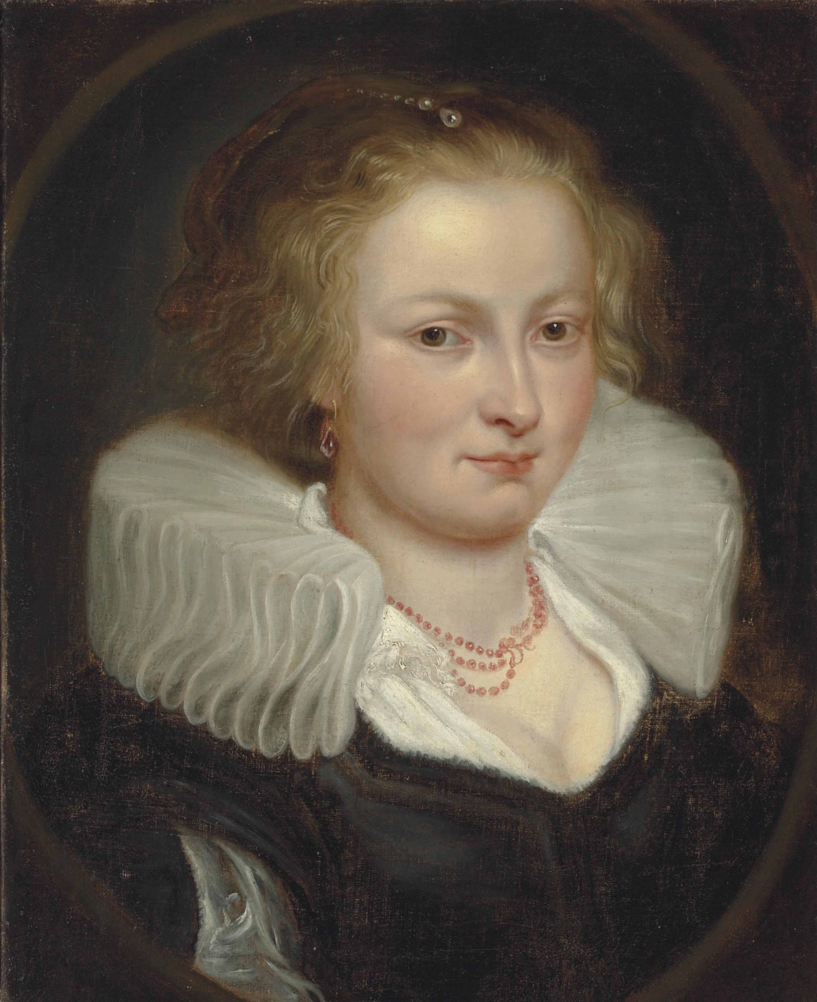 Portrait of a woman, bust length, in a black dress, with a white ruff and coral necklace, in a feigned oval