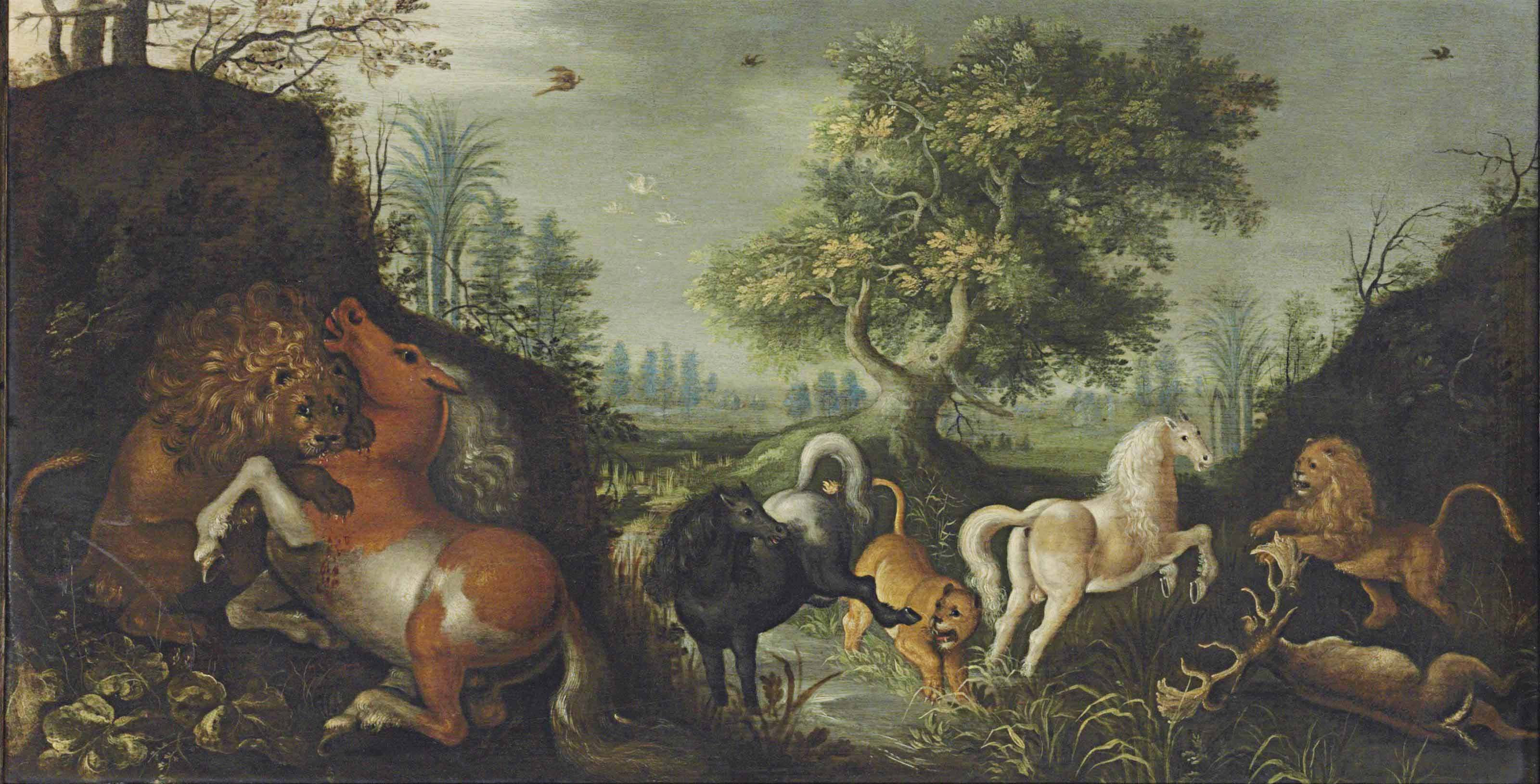 A wooded river landscape with lions attacking horses