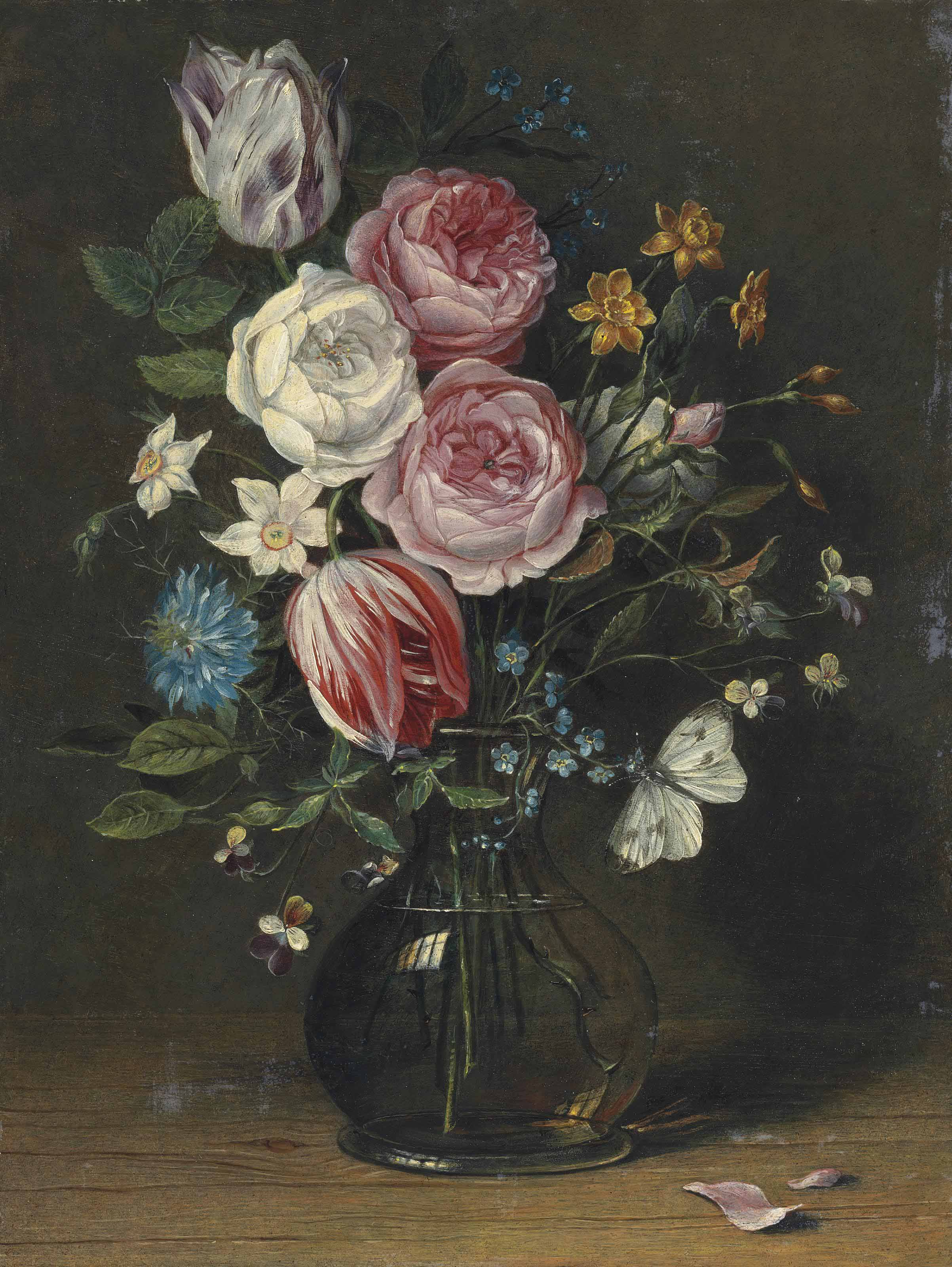 Roses, tulips, Poet's daffodils and other flowers in a glass vase, with a butterfly