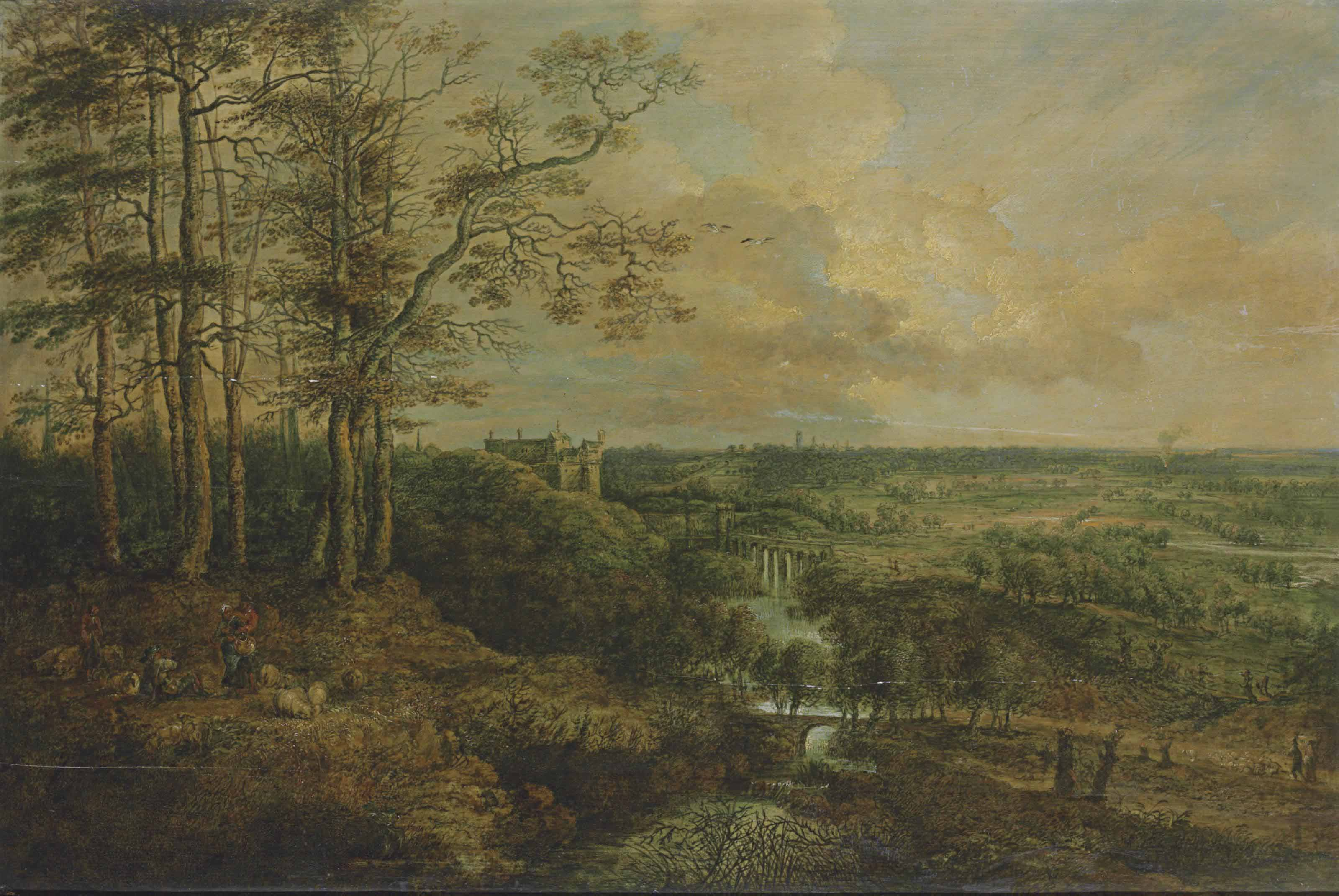 An extensive wooded landscape with shepherds and their flock resting by a river, a castle and a bridge beyond