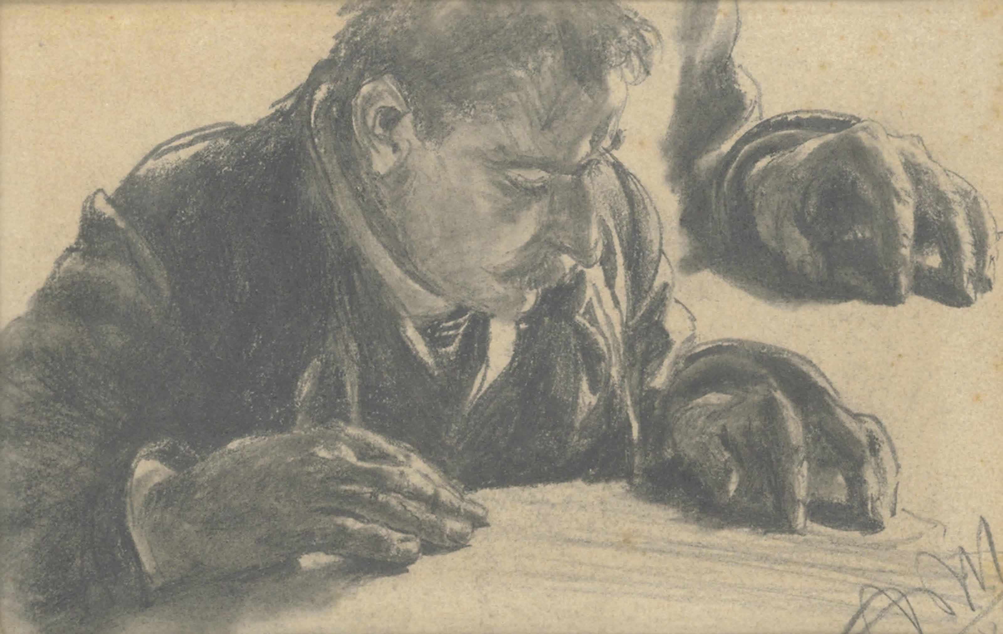 A man reading, with a subsidiary study of his left hand
