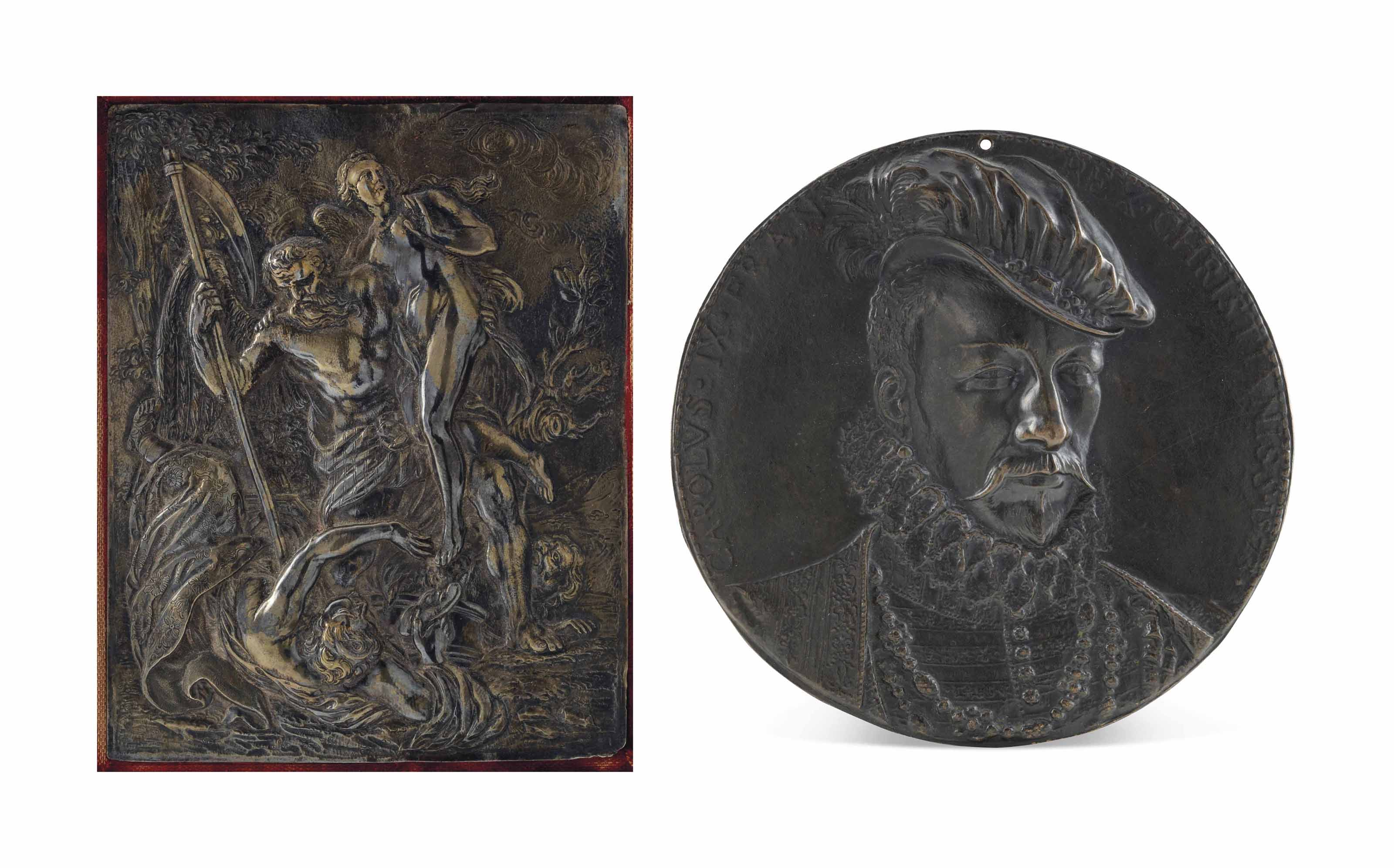 A CIRCULAR BRONZE RELIEF OF CHARLES IX