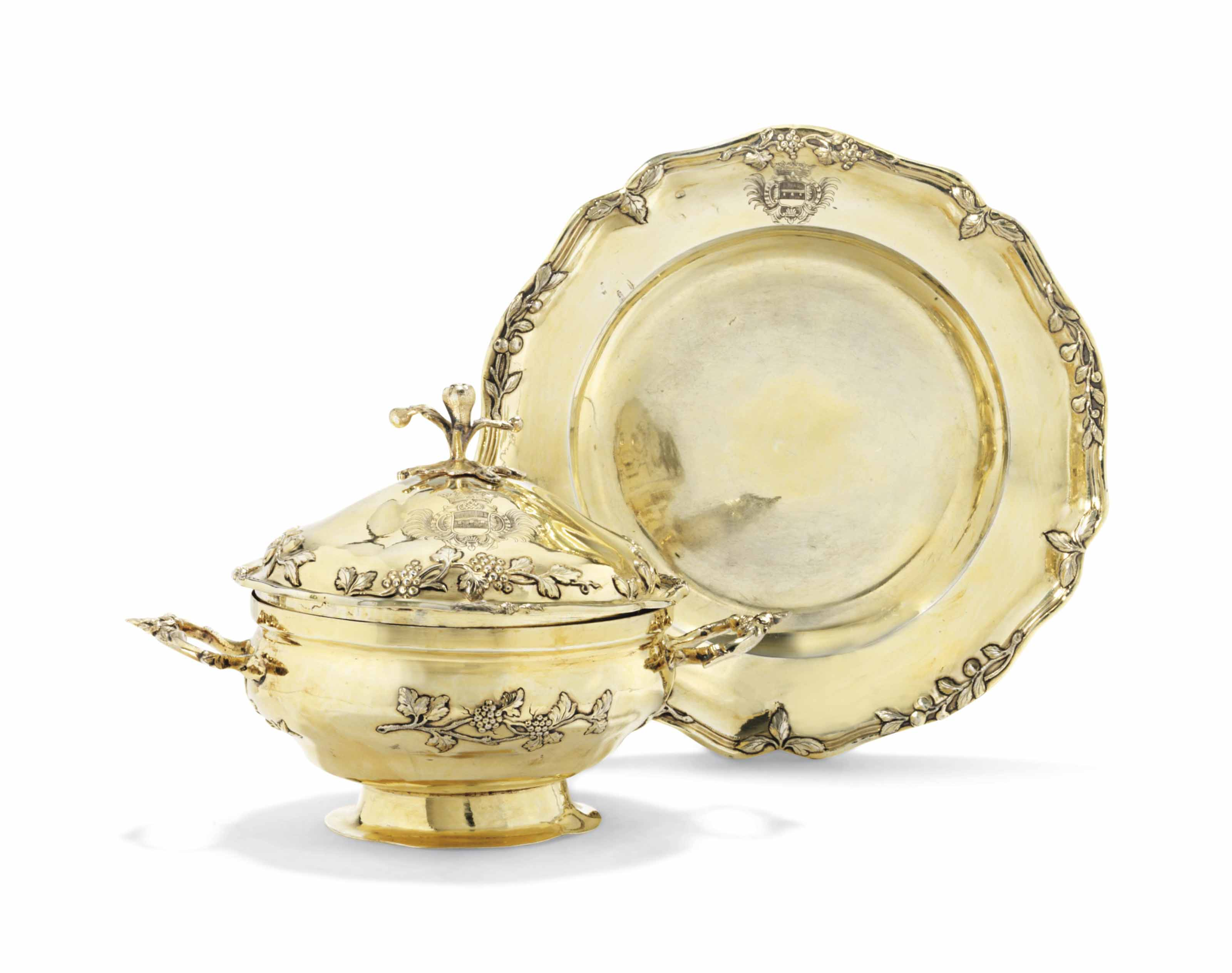 A GERMAN SILVER-GILT ECUELLE, COVER AND STAND