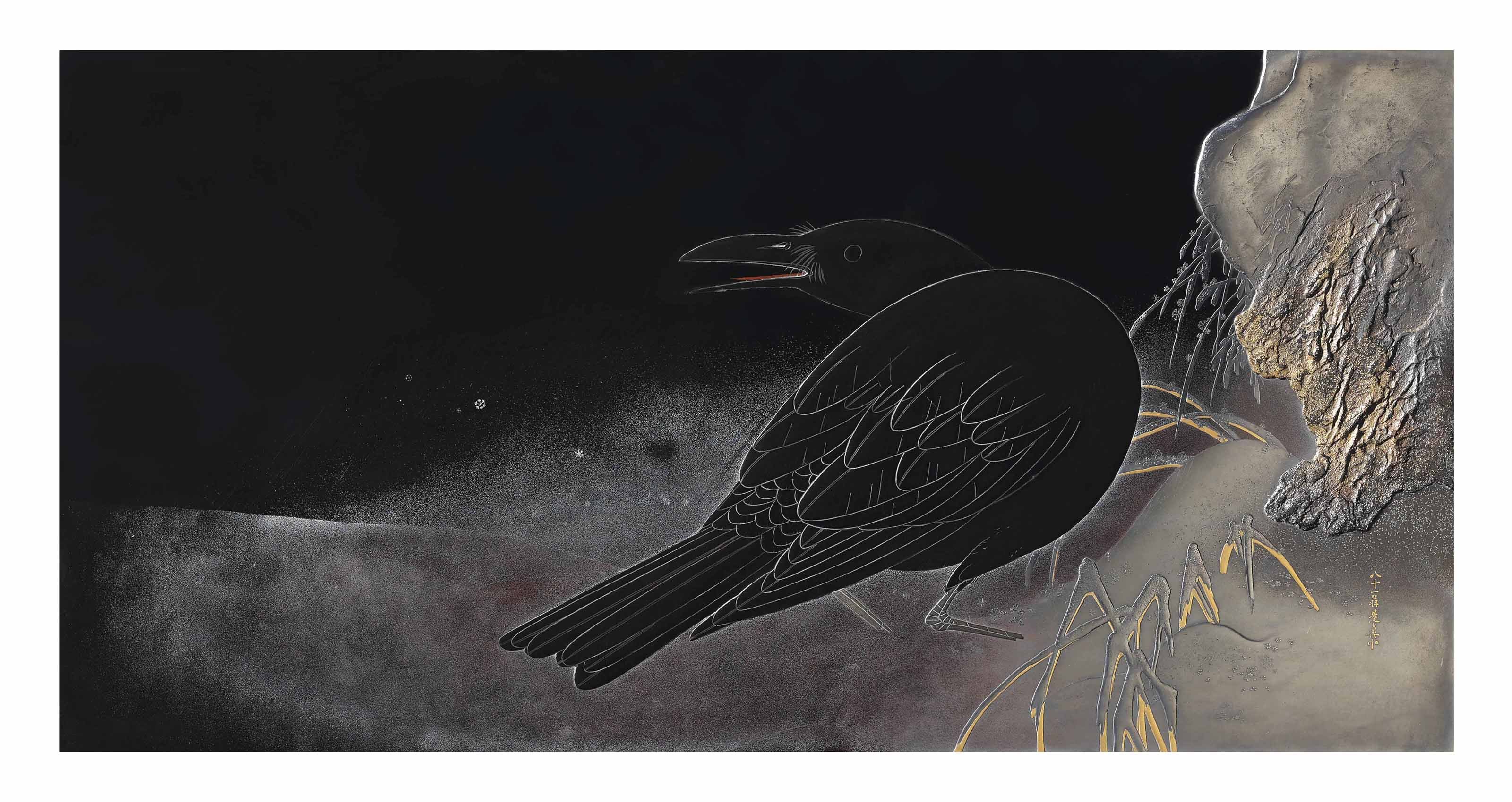 A Magnificent Lacquer Panel Depicting a Crow in the Night