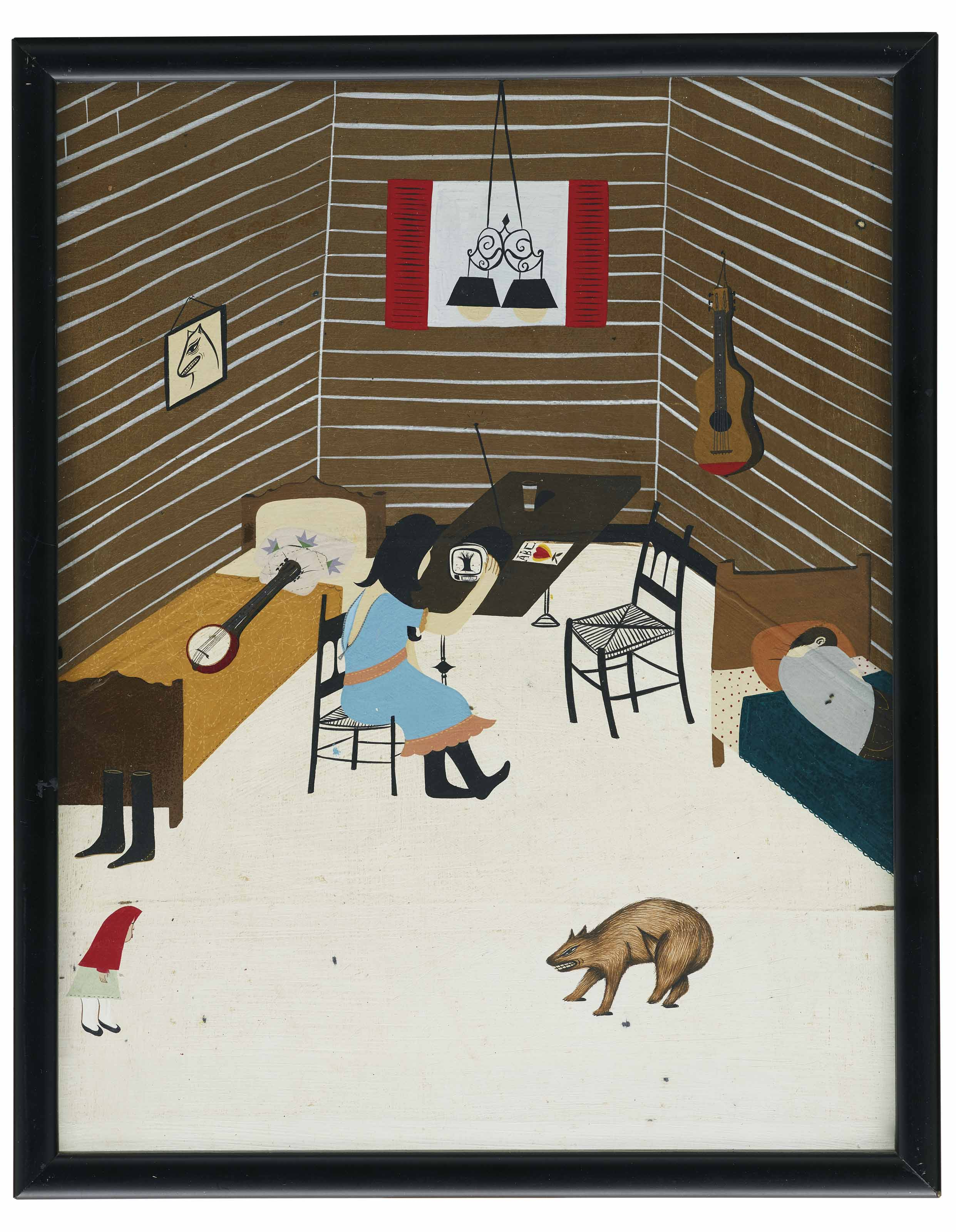 Untitled (Interior with Girl, Bear and Banjo)