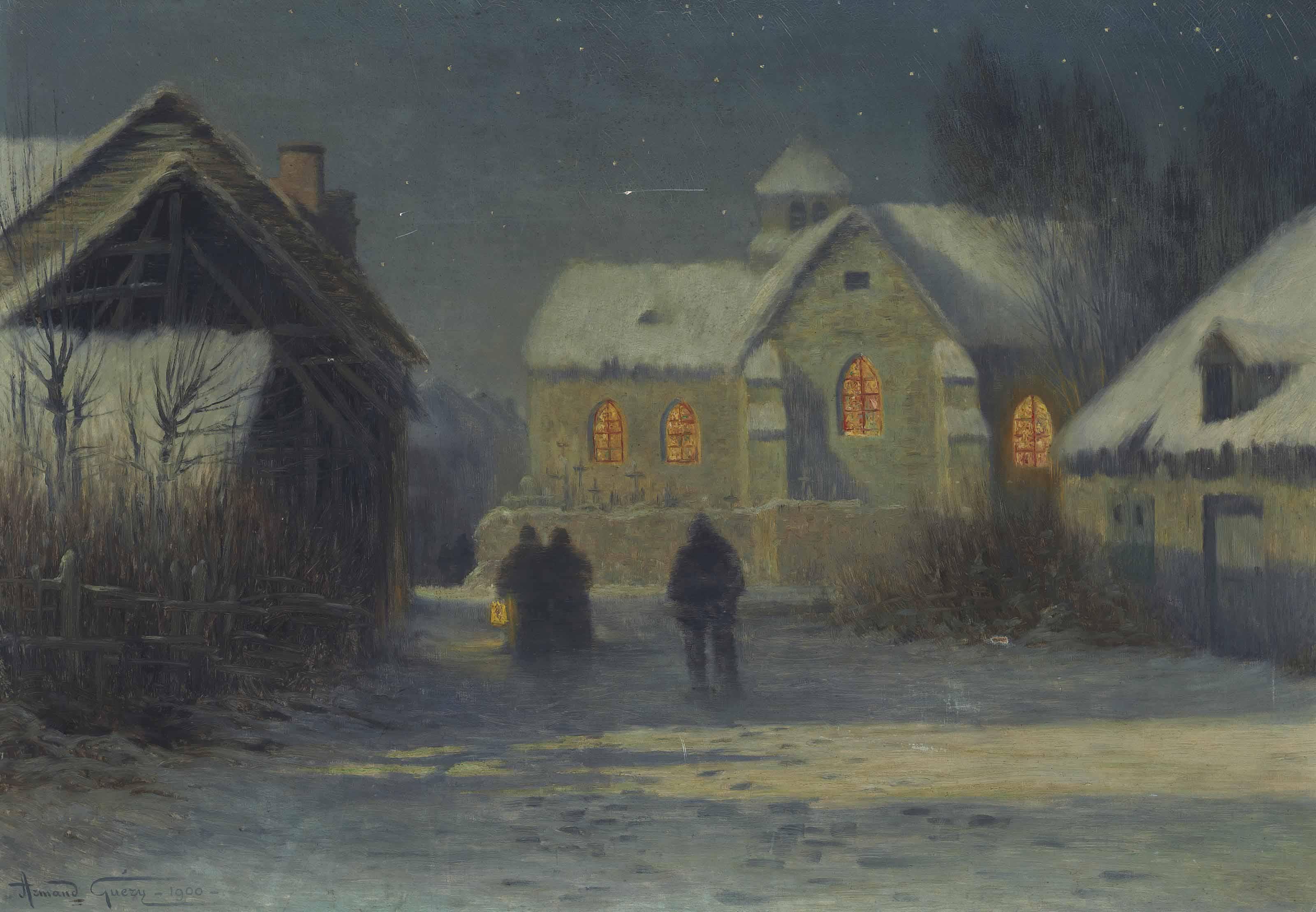 Midnight Mass, Christmas Night in Bertincourt, Champagne.