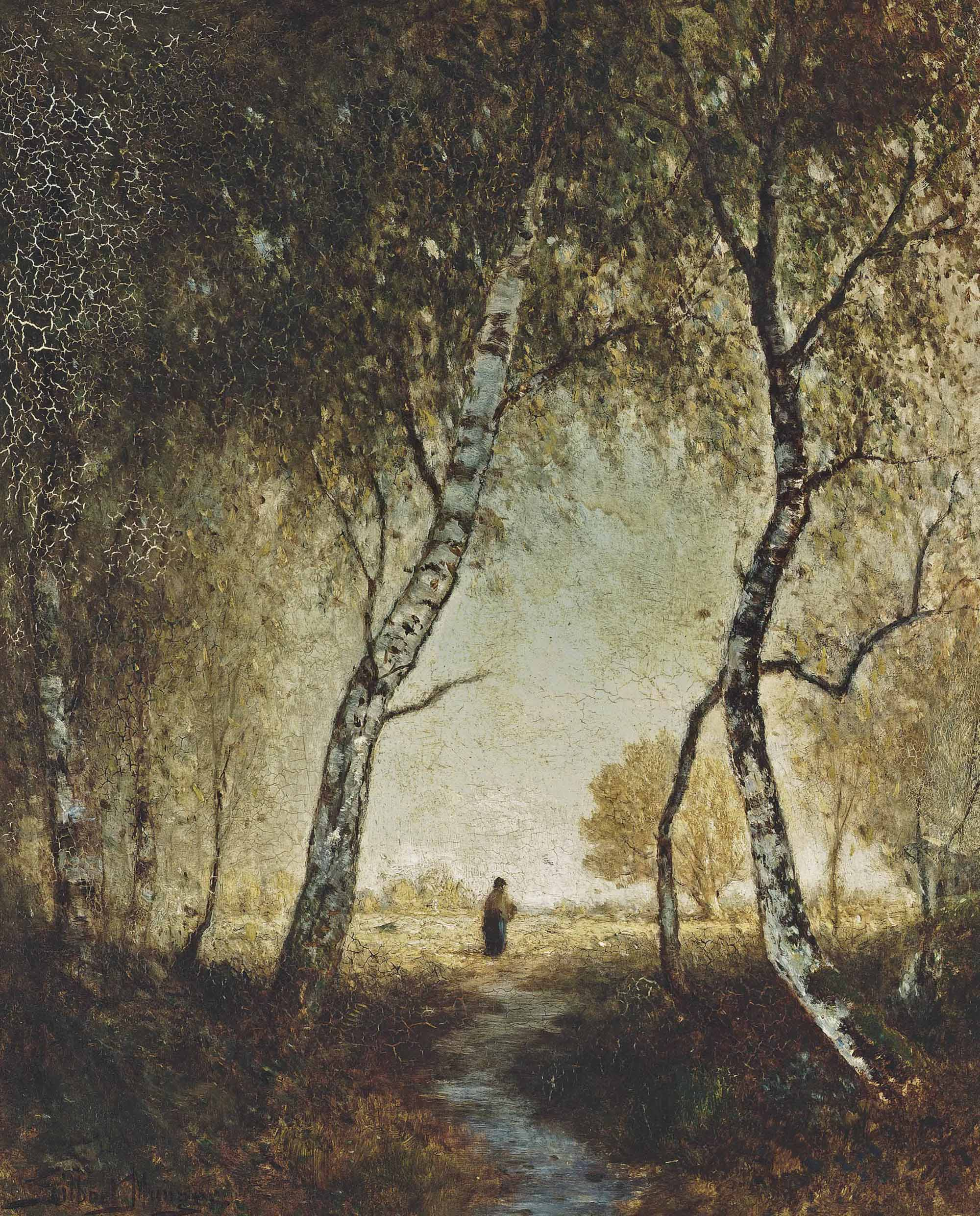A peasant in a forest clearing