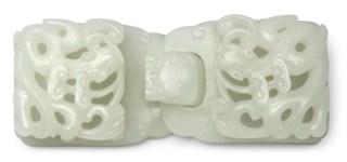 A WHITE JADE 'DRAGON' BELT BUC