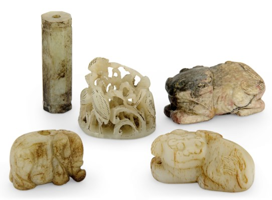 A GROUP OF FIVE JADE CARVINGS