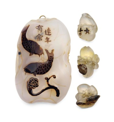AN AGATE 'CATFISH' PENDANT AND