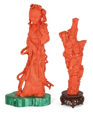 TWO CORAL CARVINGS