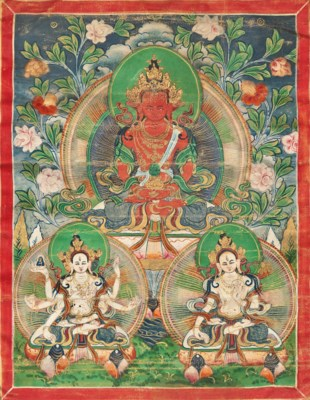 A GROUP OF THREE THANGKAS