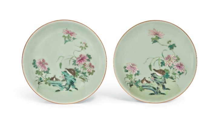 A PAIR OF CELADON-GROUND FAMIL