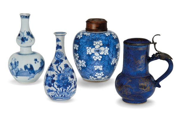 A GROUP OF FOUR SMALL PORCELAI