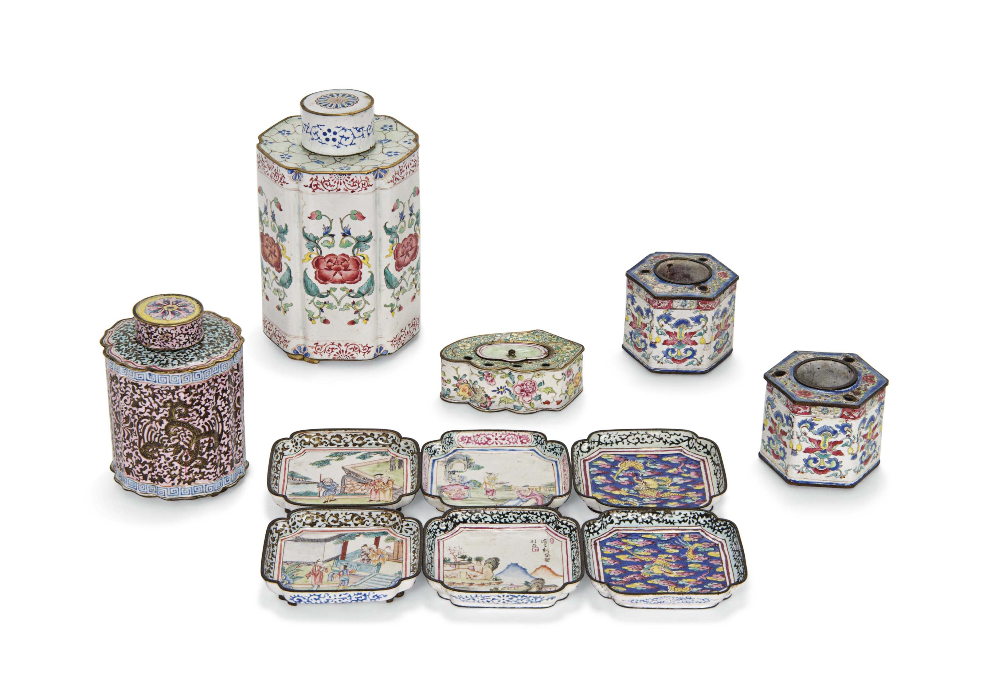 A GROUP OF PAINTED ENAMEL WARE
