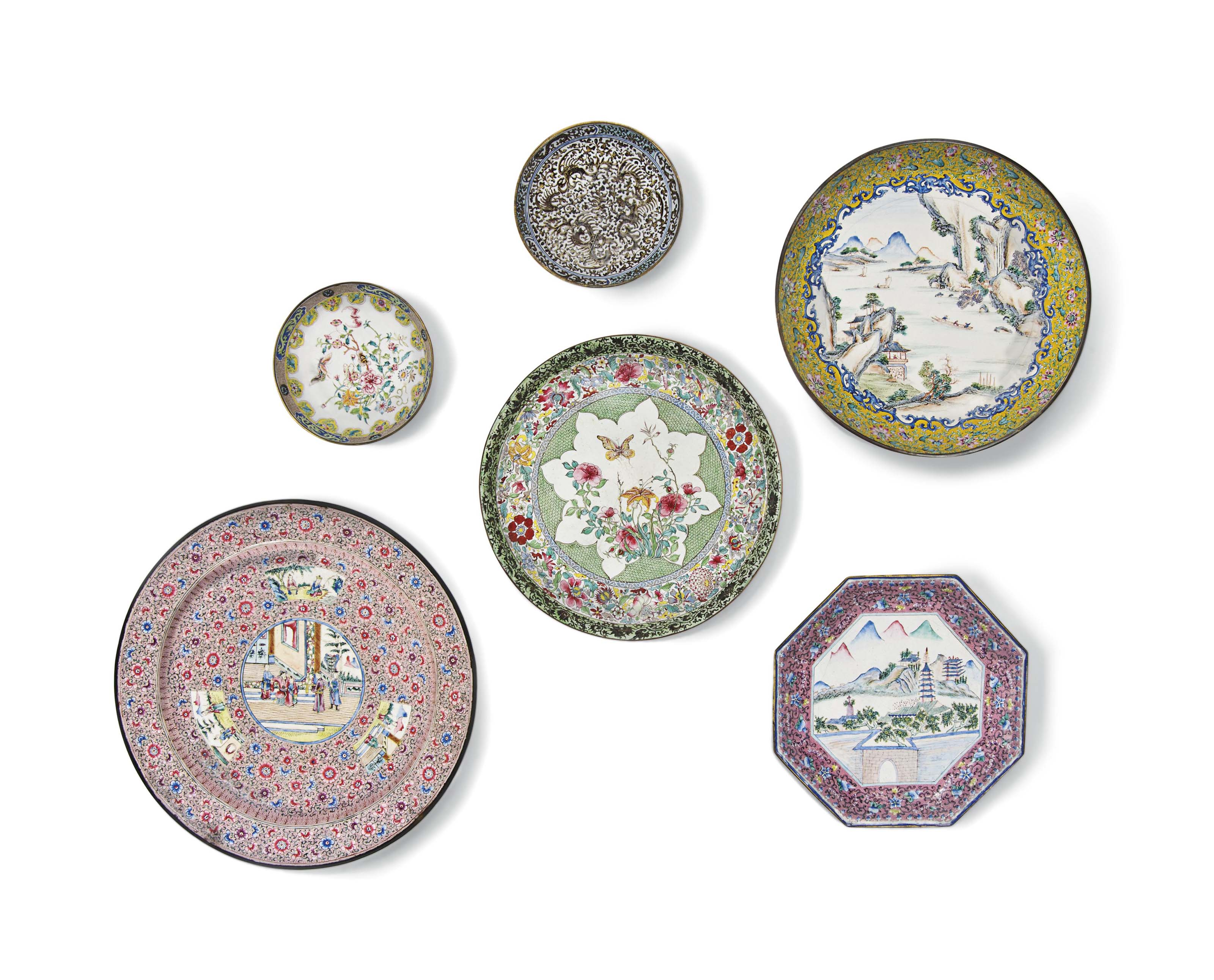 A GROUP OF SIX PAINTED ENAMEL