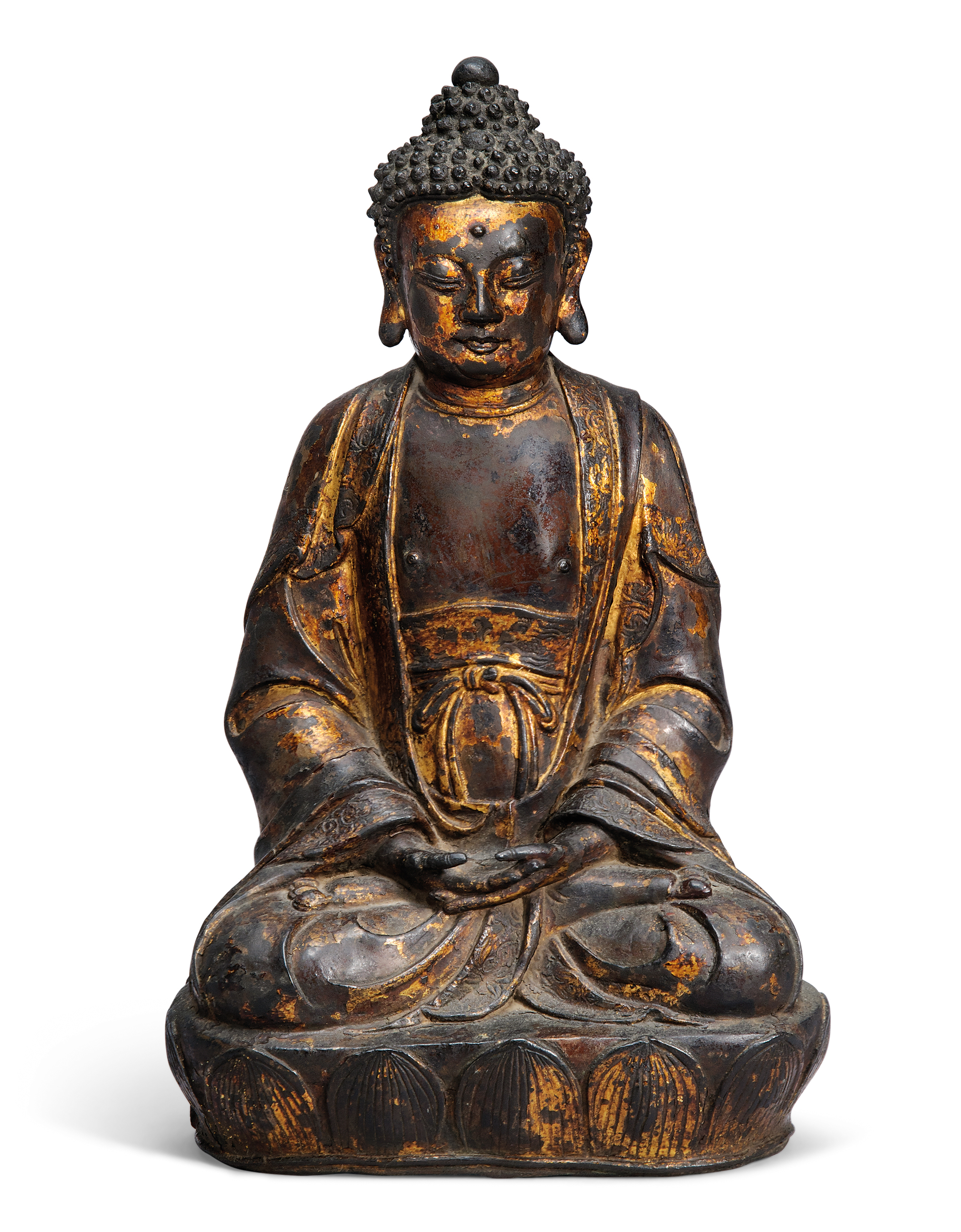 A GILT-LACQUERED BRONZE SEATED