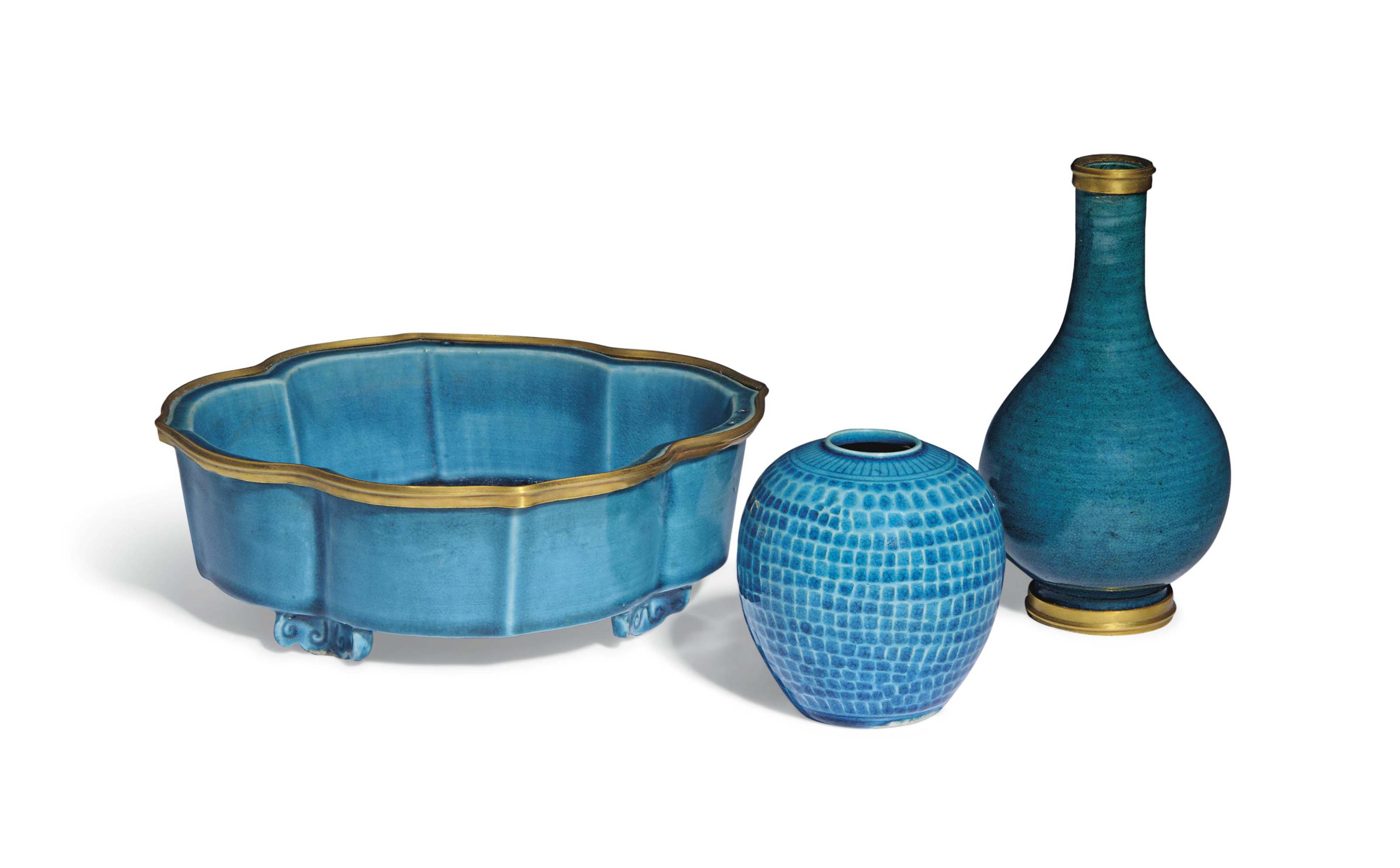 A GROUP OF THREE TURQUOISE VES