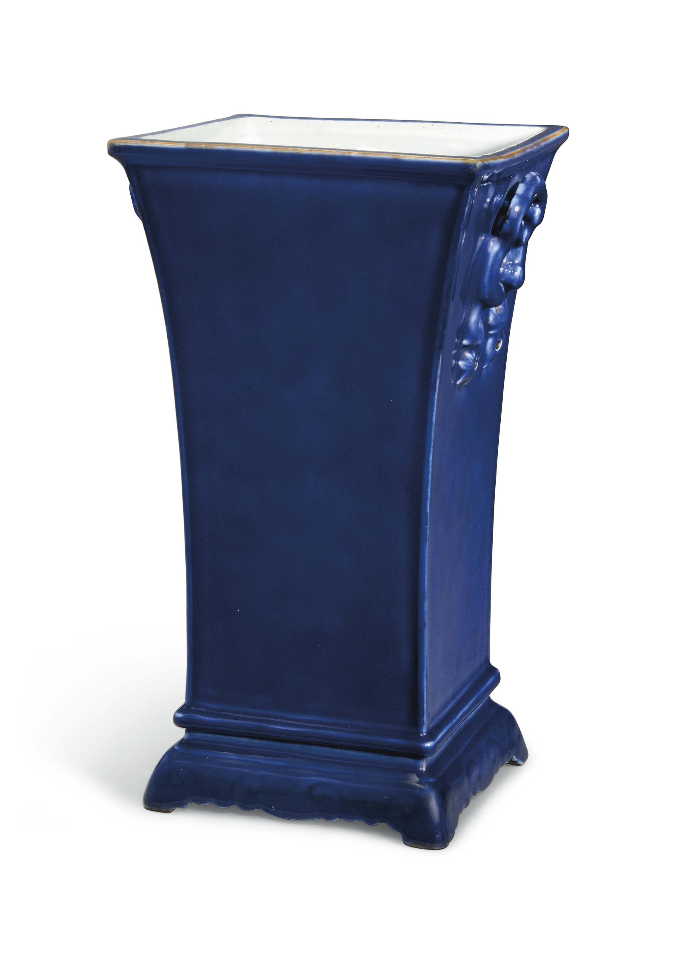 A BLUE-GLAZED SQUARE-FORM VASE