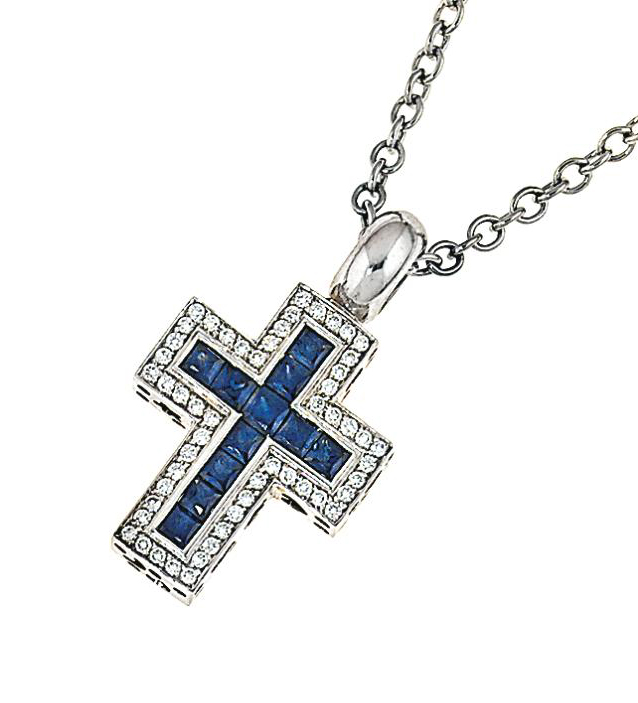 A sapphire and diamond pendant necklace, by Pasquale Bruni