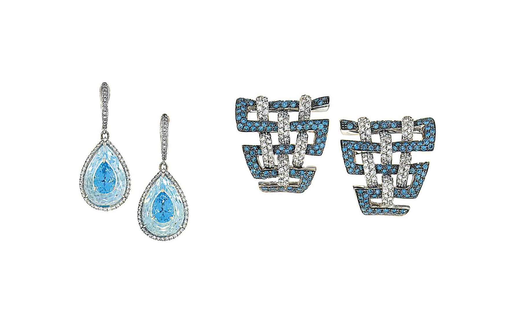 Two pairs of gem-set earrings, one by Bogh-Art