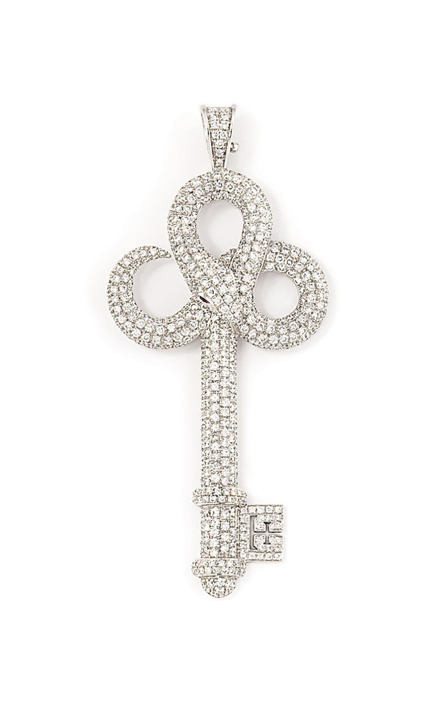 An 18ct white gold diamond and ruby 'Snake Key' pendant, by Theo Fennell