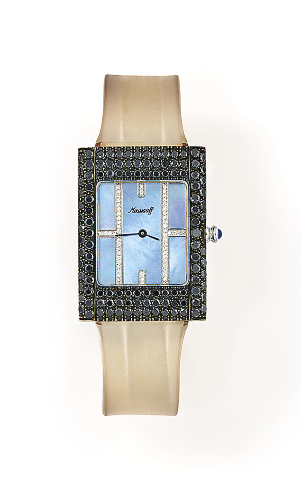 A mother-of-pearl and coloured diamond 'Toxido' quartz wristwatch, by Moussaeiff