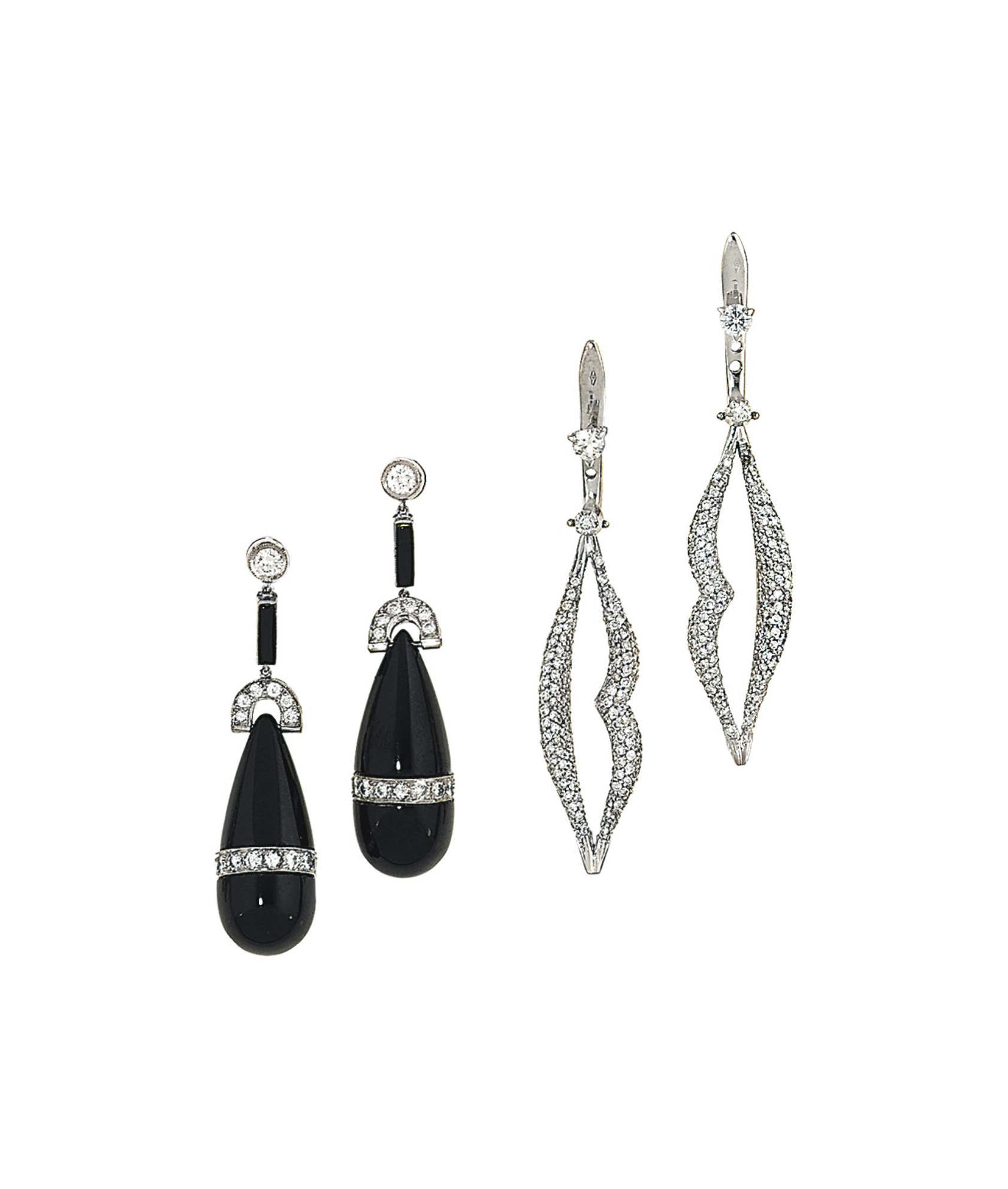 Two pairs of earrings, one by Enigma
