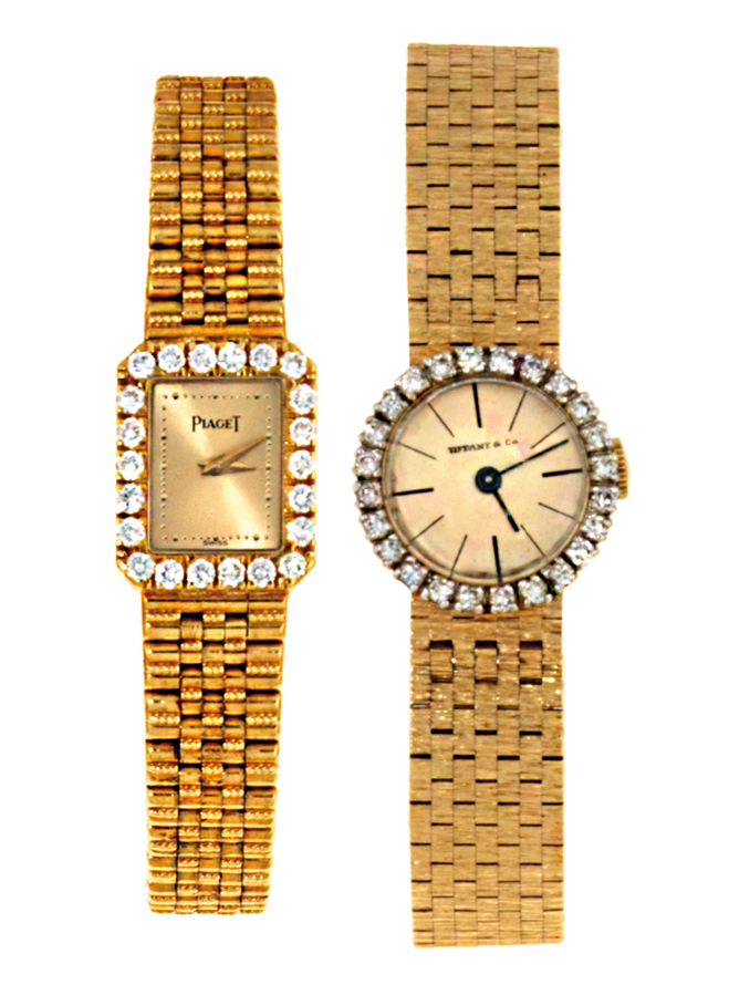 Two lady's diamond bracelet watches one by Concord for Tiffany & Co., the other by Piaget
