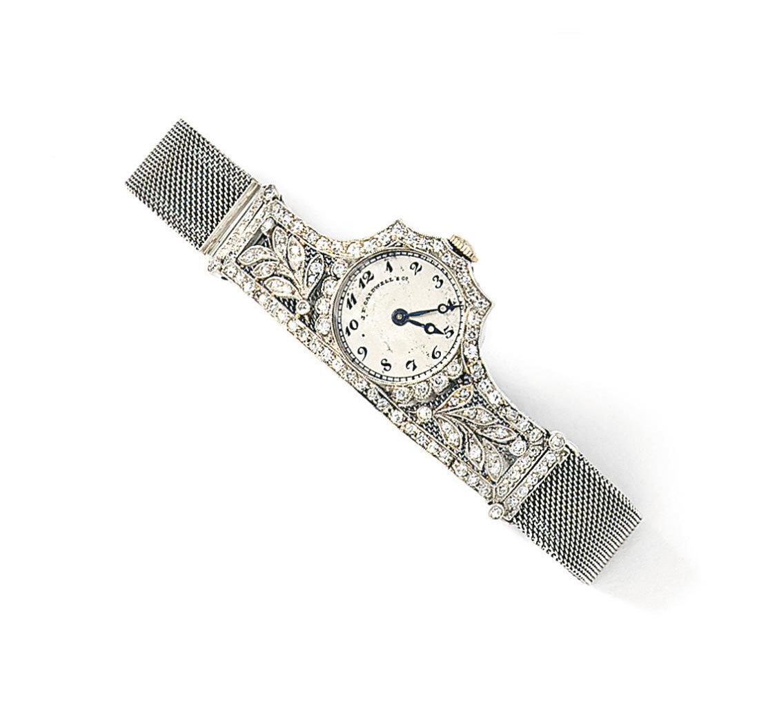 A lady's Art Deco diamond wristwatch, by J.E. Caldwell & Co.