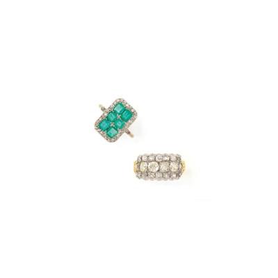 AN EDWARDIAN DIAMOND AND EMERA