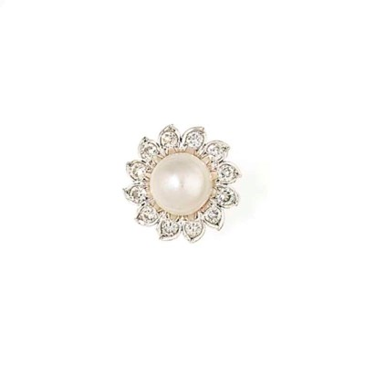 A NATURAL PEARL AND DIAMOND CL