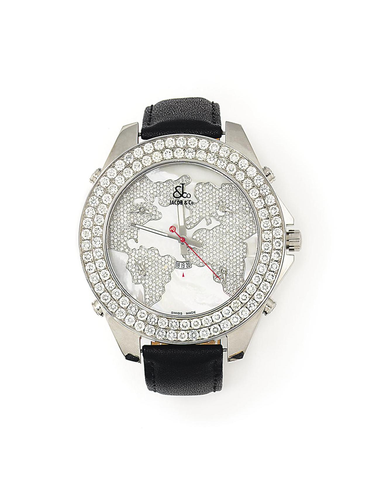 A DIAMOND-SET, STAINLESS STEEL FIVE TIME ZONE 'JUMBO' QUARTZ WRISTWATCH, BY JACOB & CO.