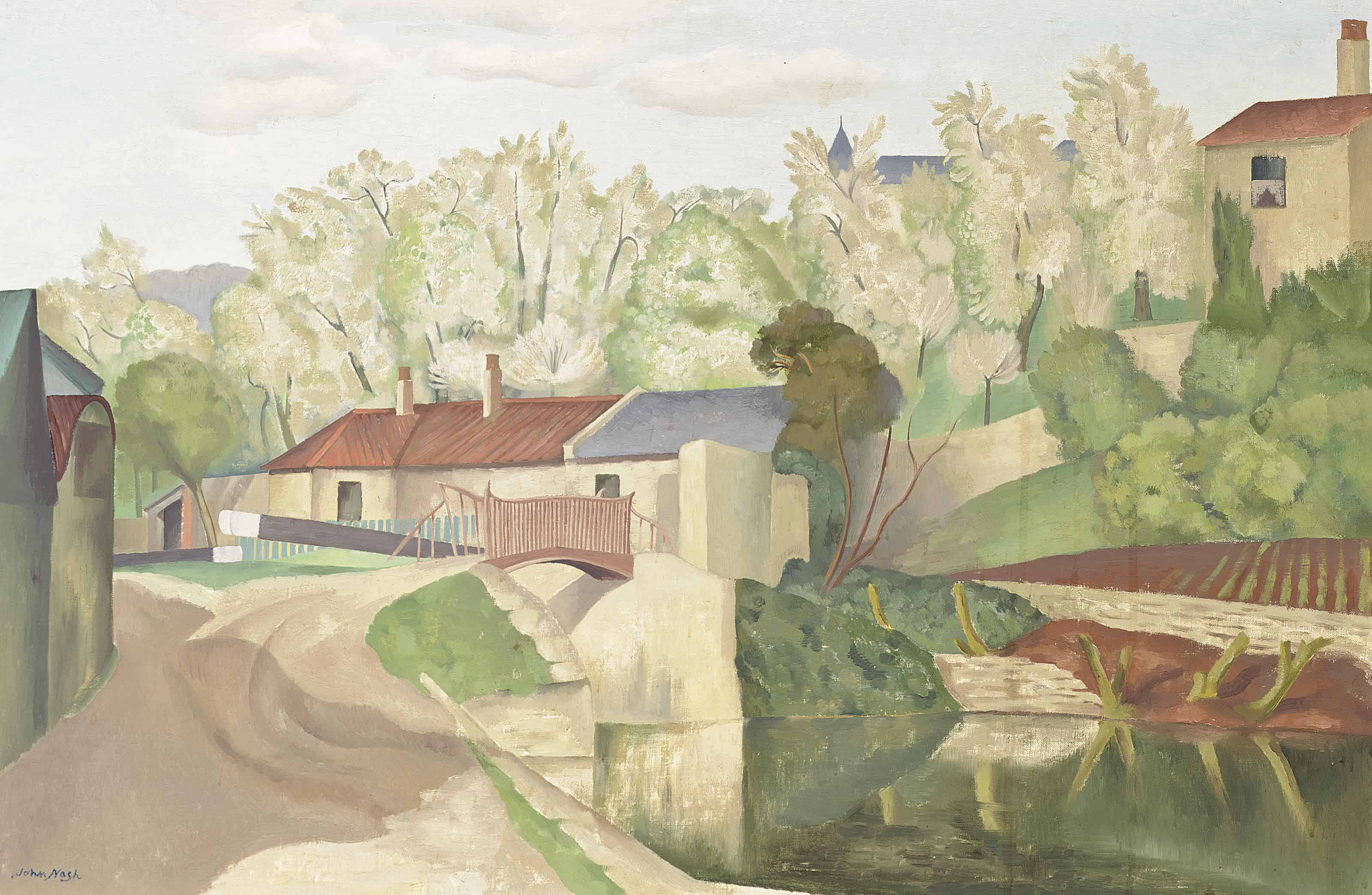 Landscape with Canal, Lock and Bridge