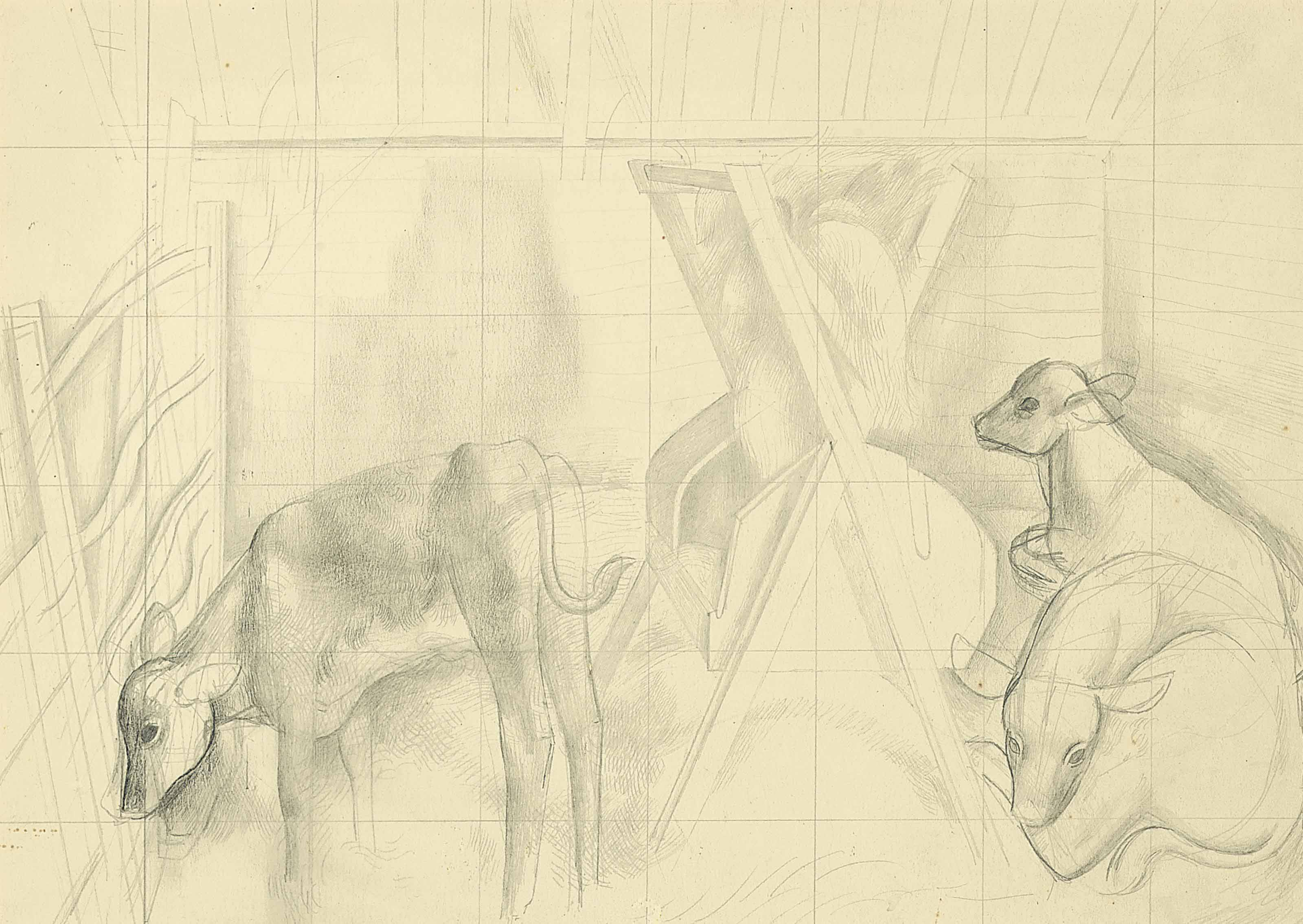 Sketch for Cockfield Barn; Sketch for Dress Circle; Sketch for Morris Dancers; and Sketch for Bull Ring