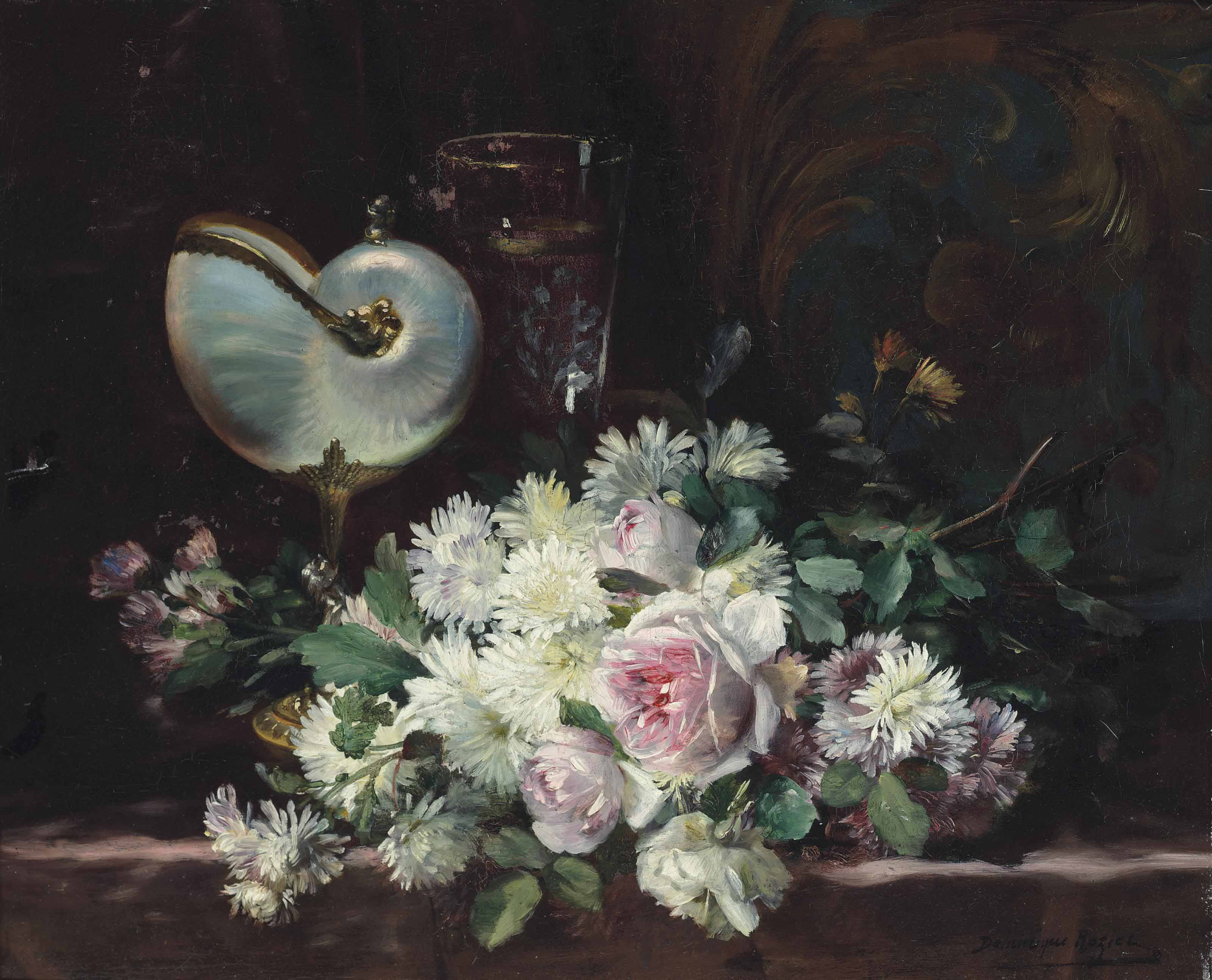 A nautilus shell, a glass and a bouquet of roses and chrysanthemums on a ledge