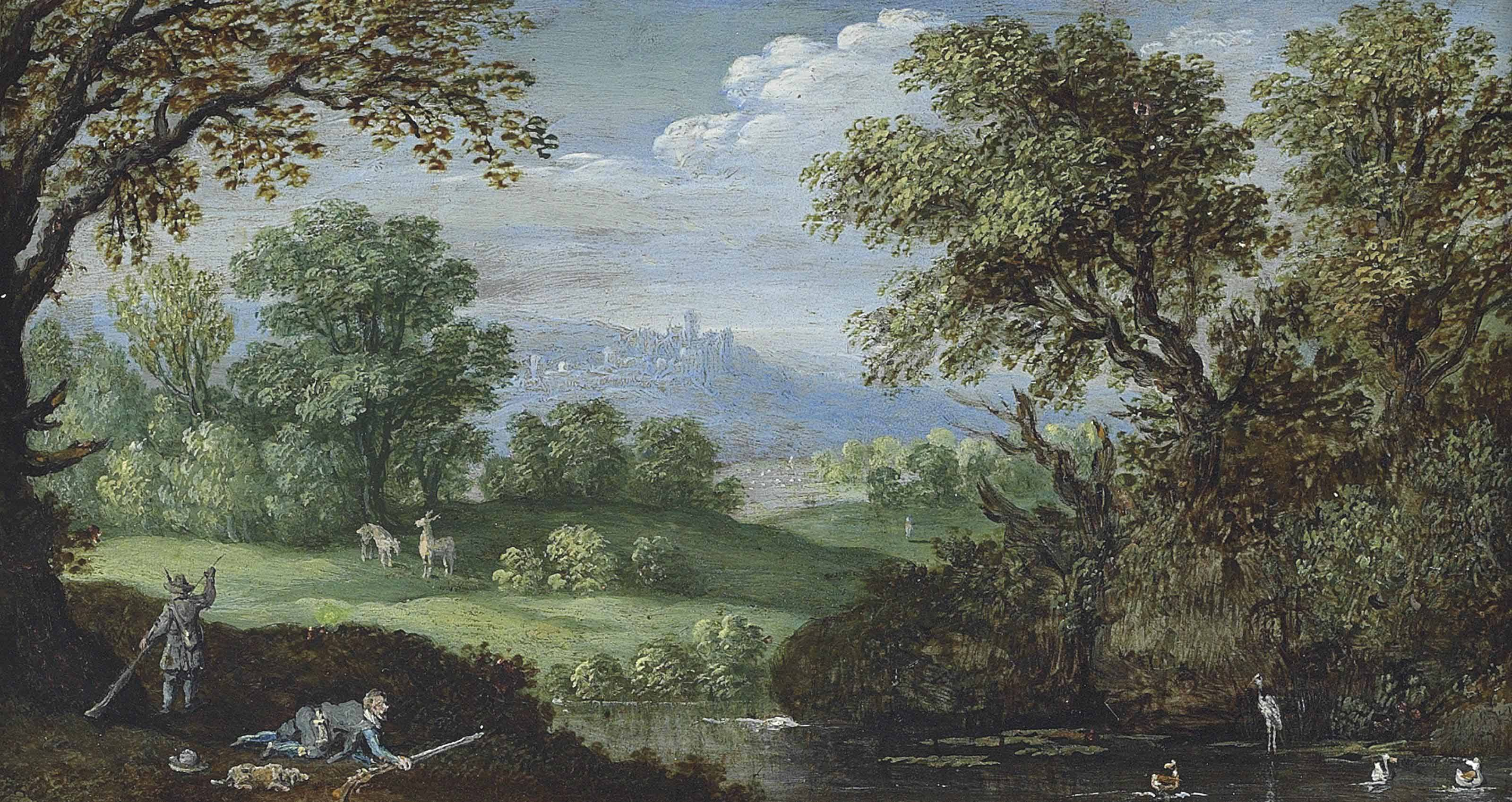 A wooded river landscape with figures hunting ducks and stags, a hilltop village beyond