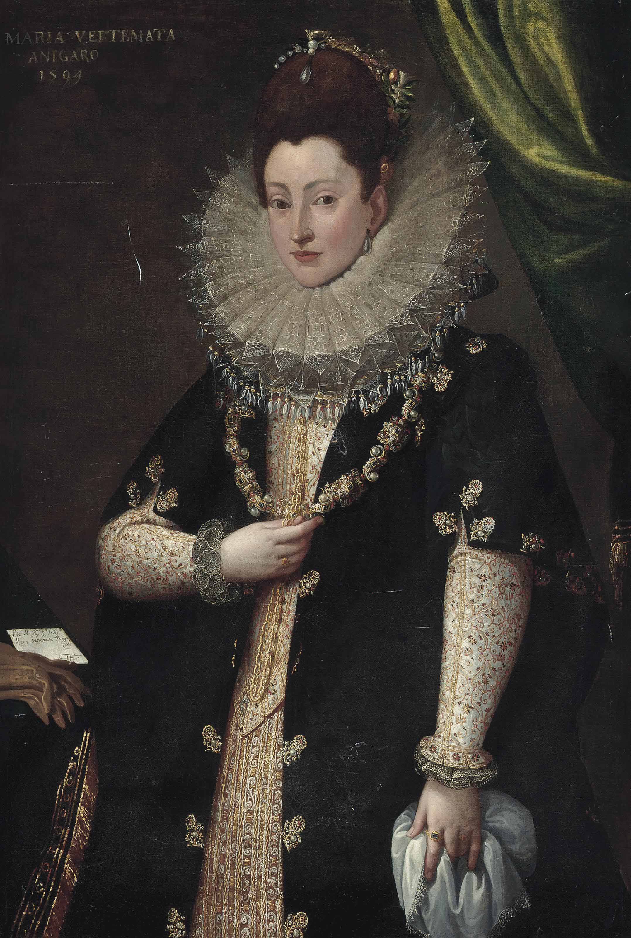 Portrait of Maria Vertemata, three-quarter length, in a richly embroidered oyster dress and bejewelled black dress, with a gold chain, lace cuffs, ruff and head-dress, a lace-trimmed napkin in her left hand, before a draped curtain