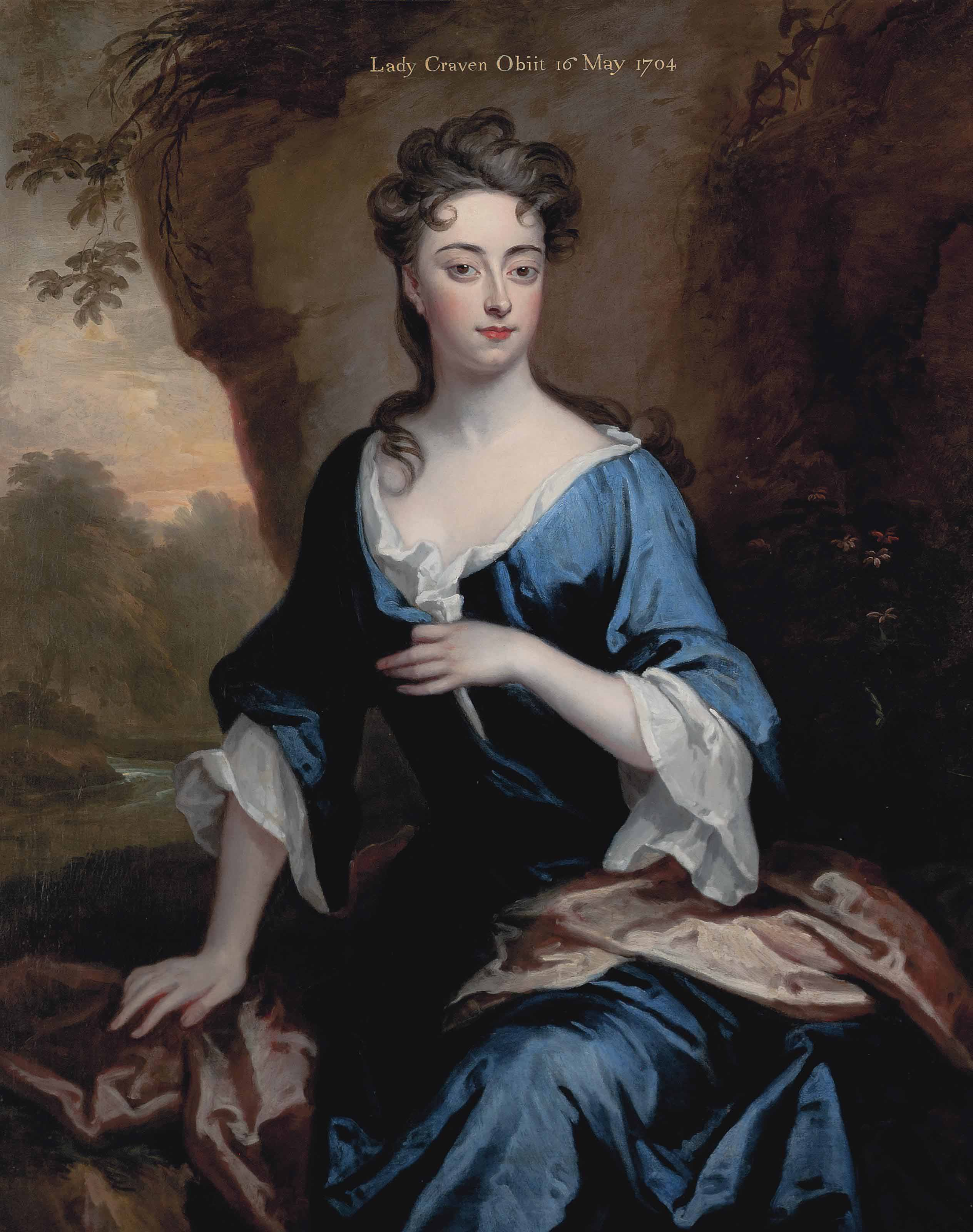 Portrait of Elizabeth Skipwith, Lady Craven (1679-1704), three-quarter-length, in a blue dress and red shawl, a wooded river landscape beyond