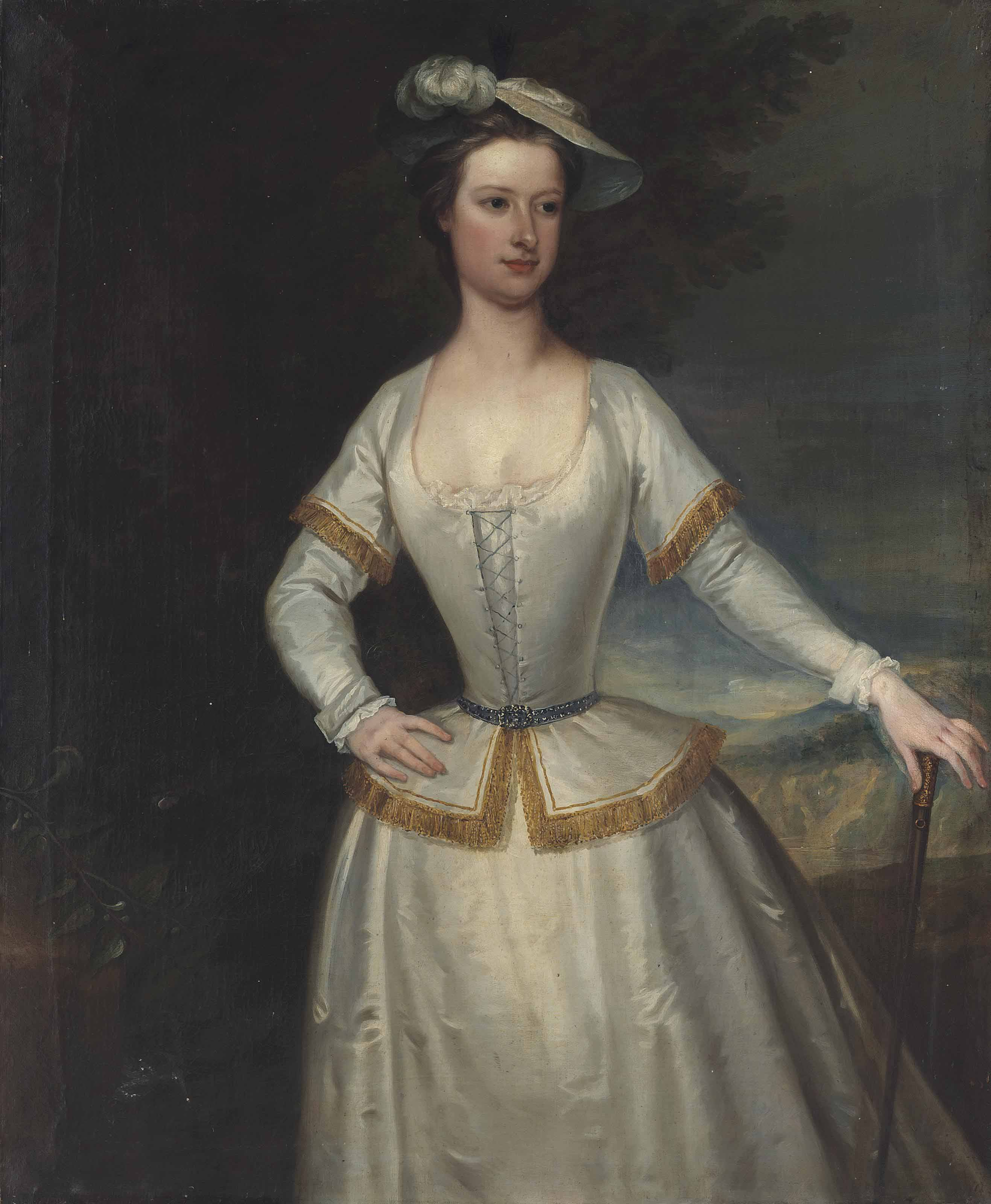 Portrait of Jane du Cane, alias du Quesne (b.1711), three-quarter-length, in a white silk dress with golden trimming and a plumed hat, a cane in her left hand, a landscape beyond