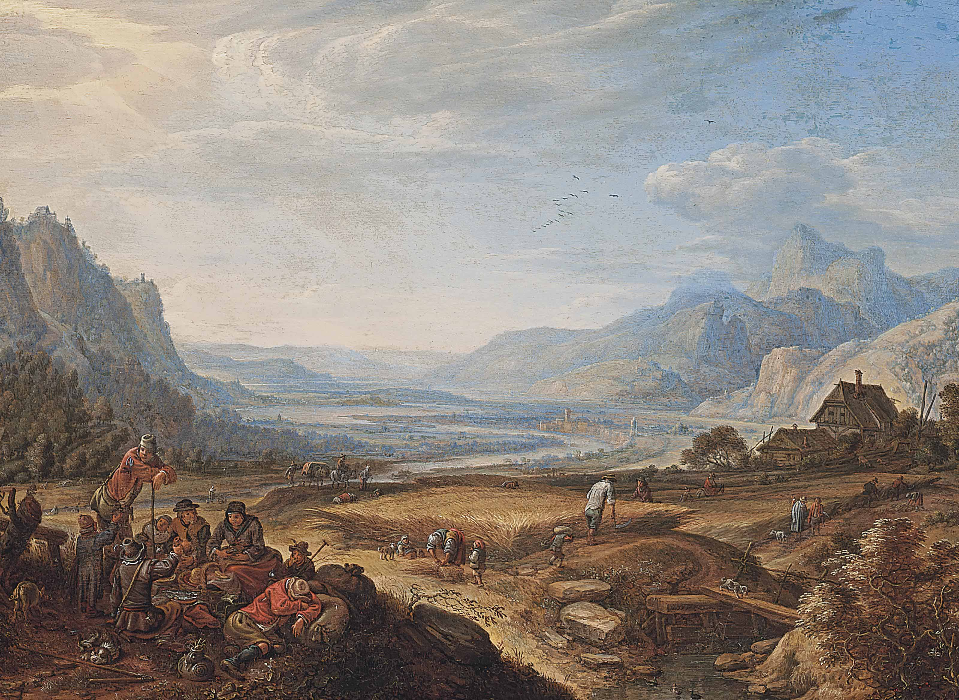 An extensive mountainous landscape with figures resting in the foreground, others harvesting, a river valley beyond