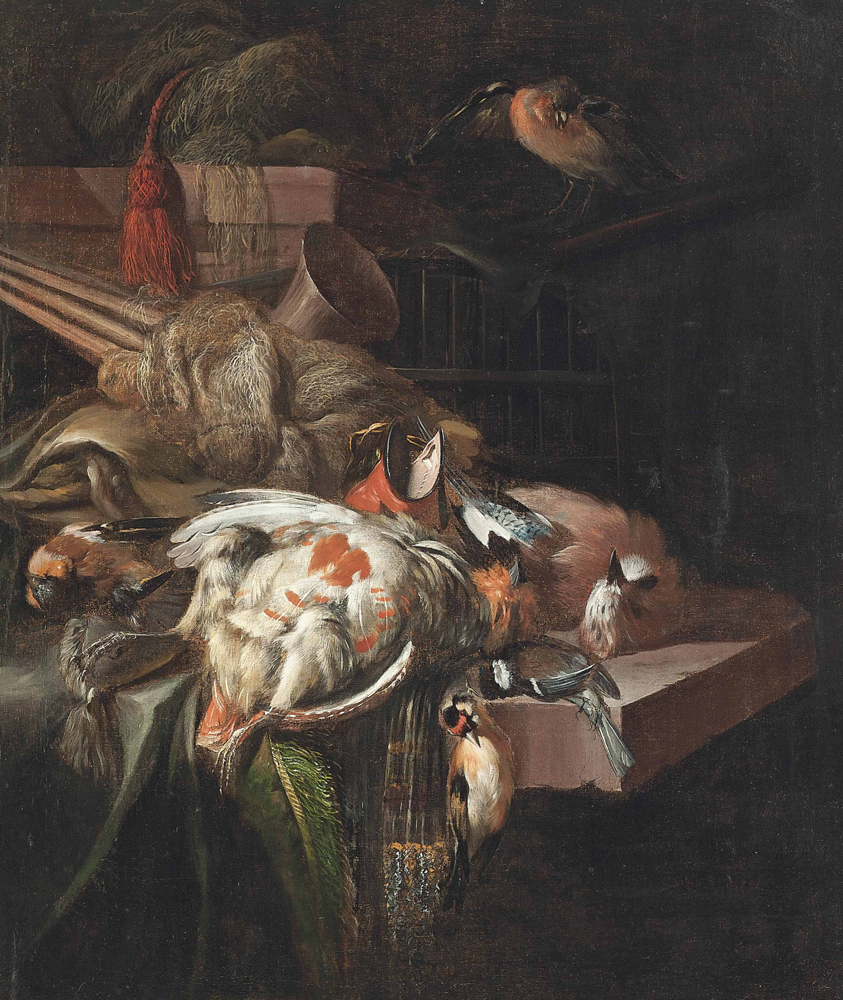 A partridge, bullfinches and other birds, with hunting paraphernalia, on a partially draped stone ledge