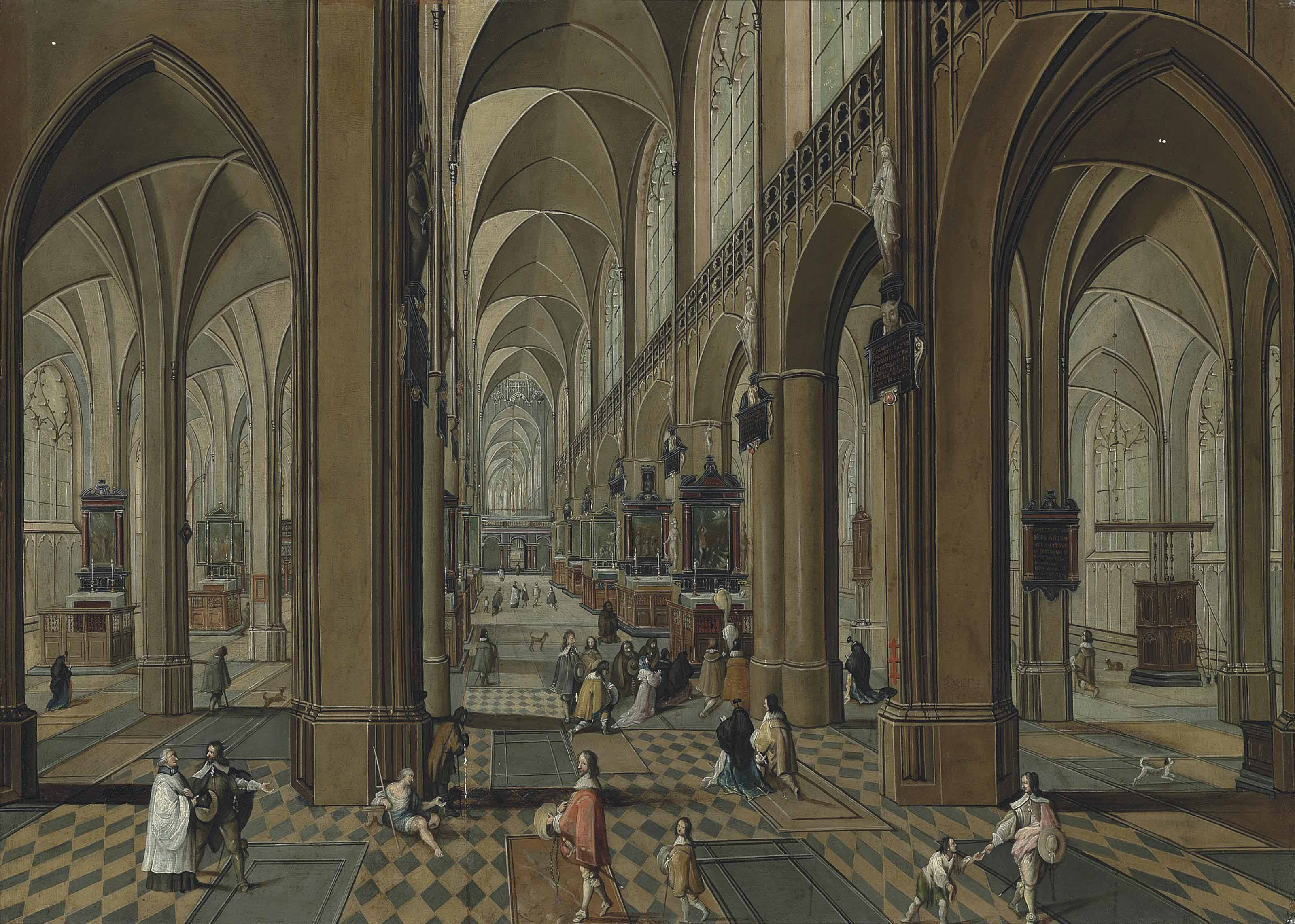 The interior of the Cathedral of Our Lady, Antwerp, with mass being celebrated on one of the altars, and other elegant figures conversing
