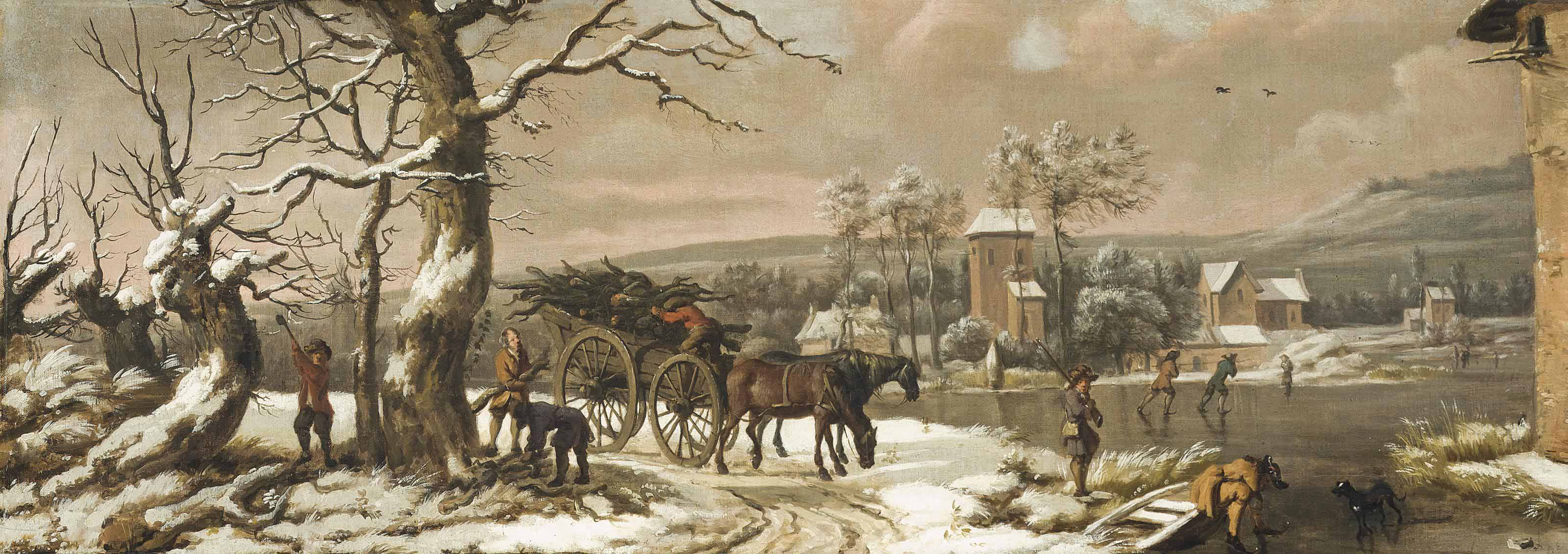 A wooded winter landscape with figures chopping wood beside a horse-drawn cart with skaters on a frozen river, a village beyond