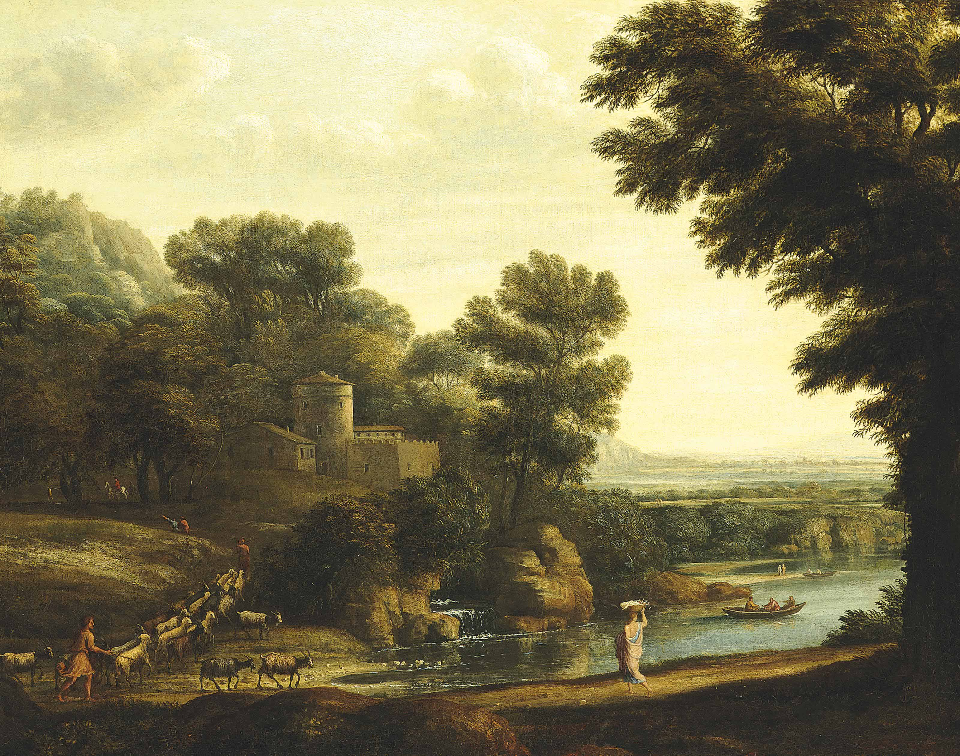 A wooded river landscape with travellers, shepherds and their flock on a path, a fortified city beyond