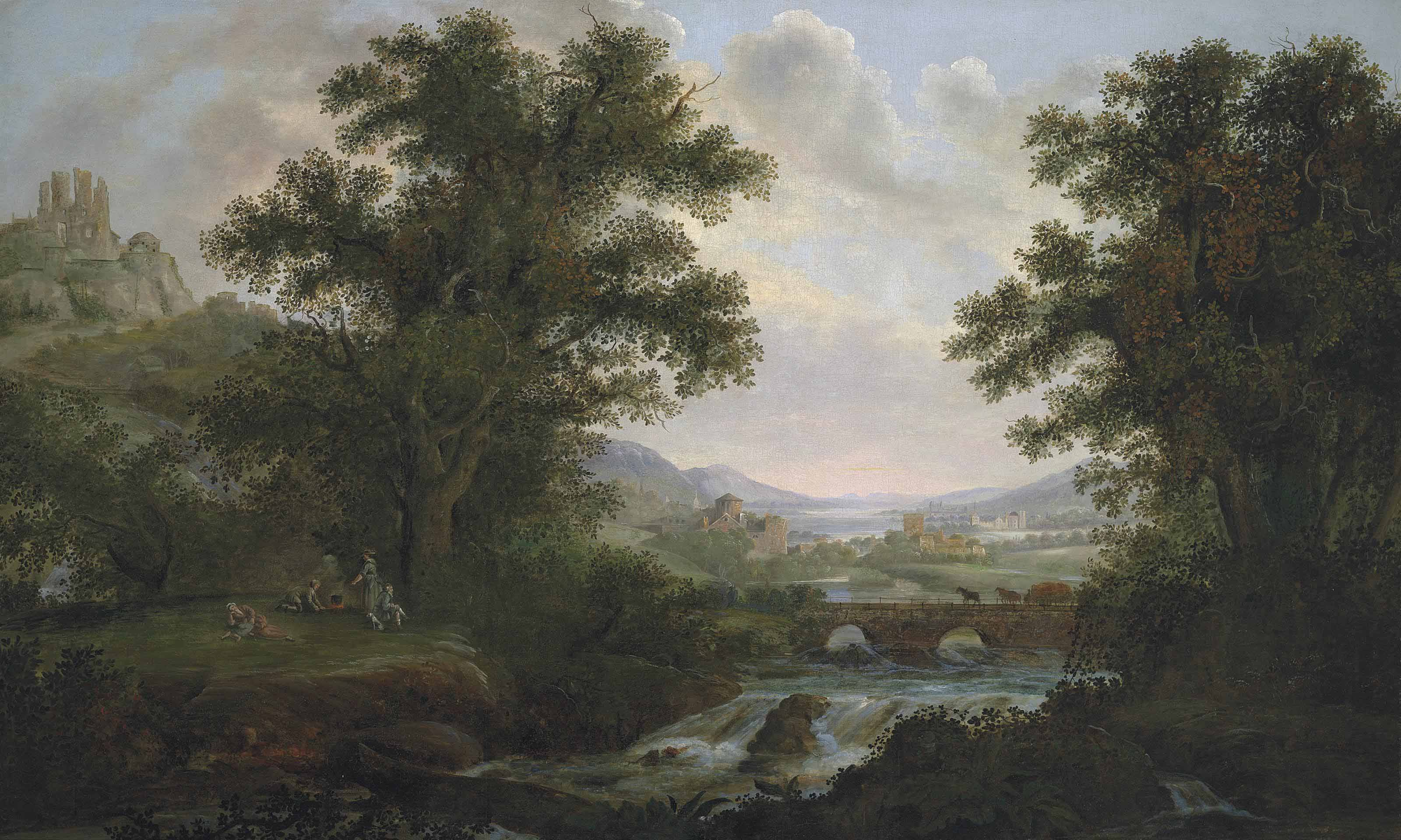 An Italianate river landscape with figures by a campfire, overlooked by ruins on a hilltop, drovers crossing a bridge, a town beyond