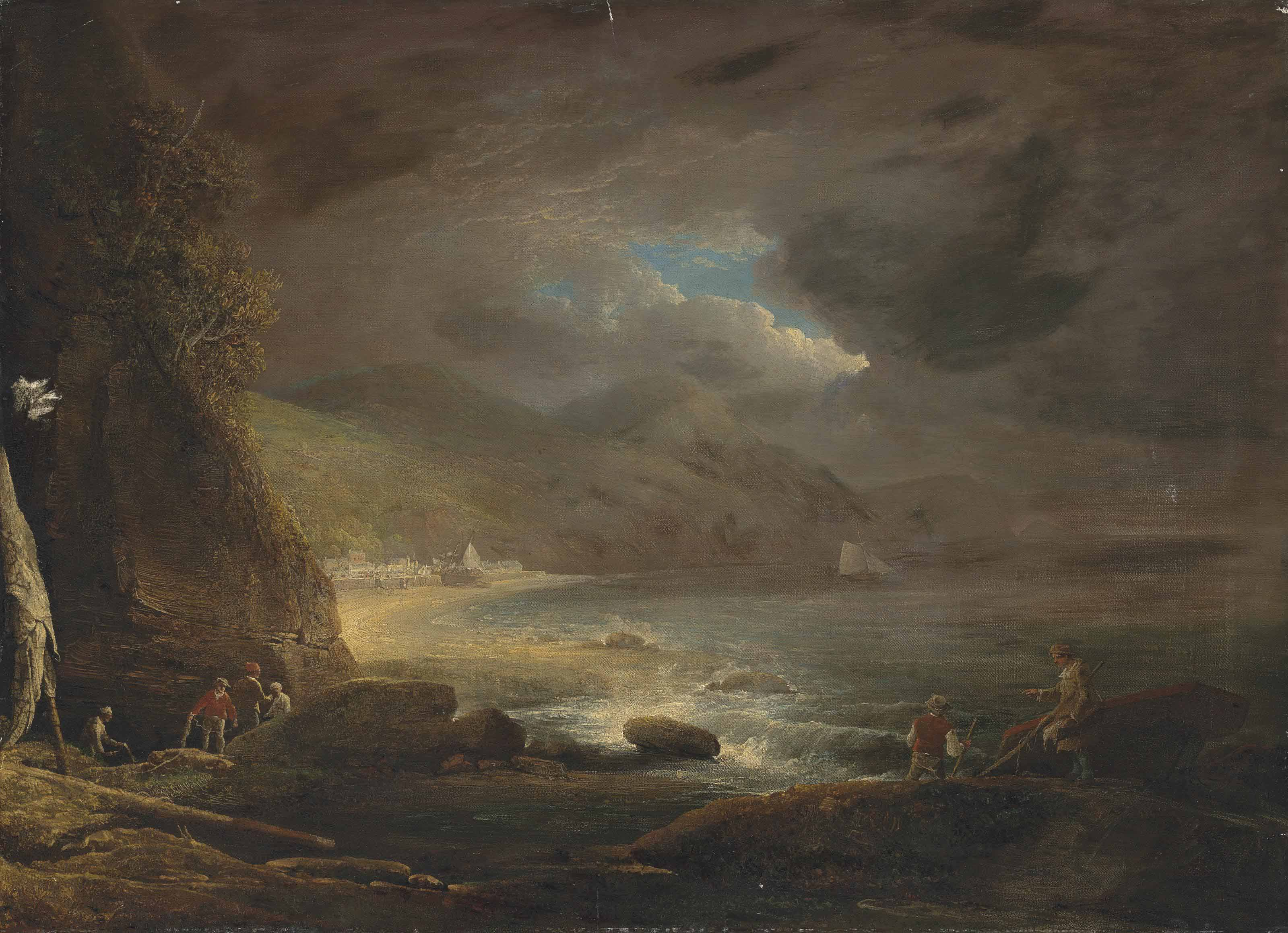 A coastal landscape with figures preparing their nets on the shore, a town beyond